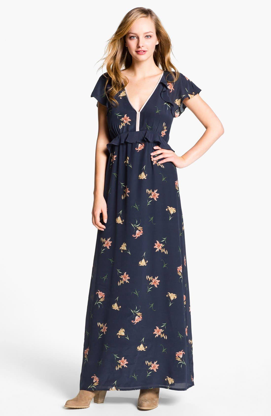Main Image - French Connection 'Lilly Anna' Print Ruffled Maxi Dress