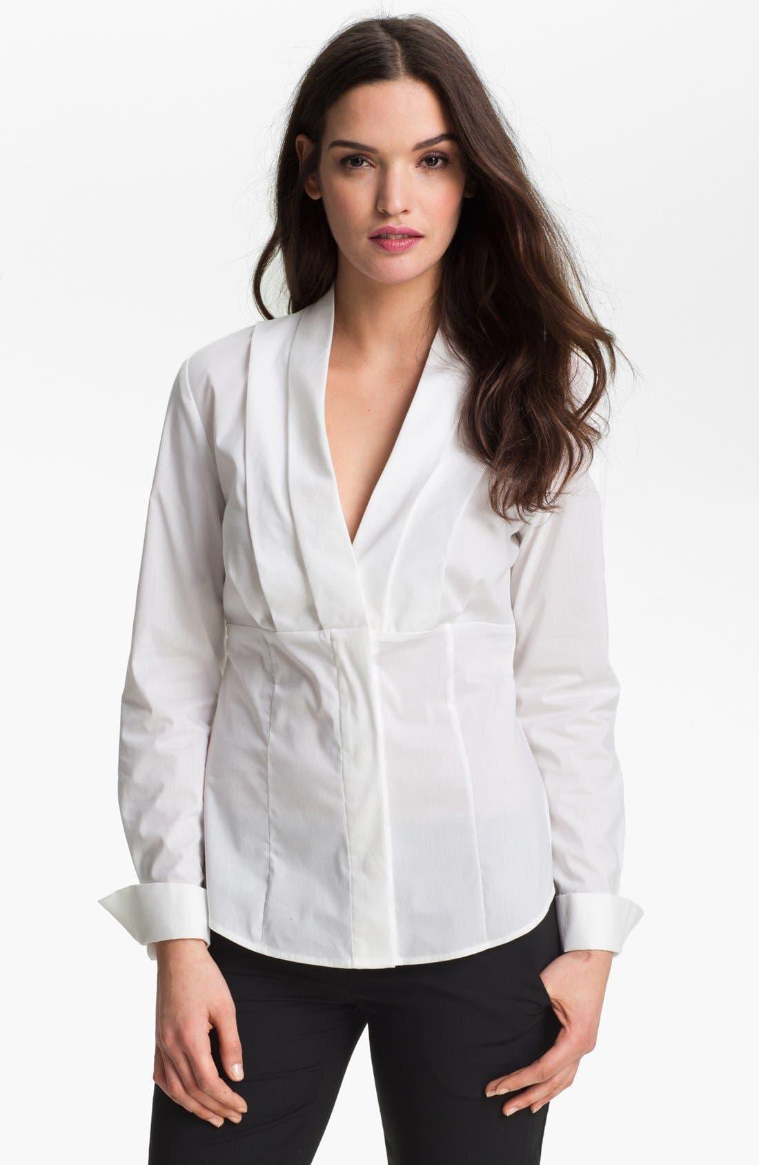 Main Image - Anne Klein Pleated V-Neck Shirt (Petite)