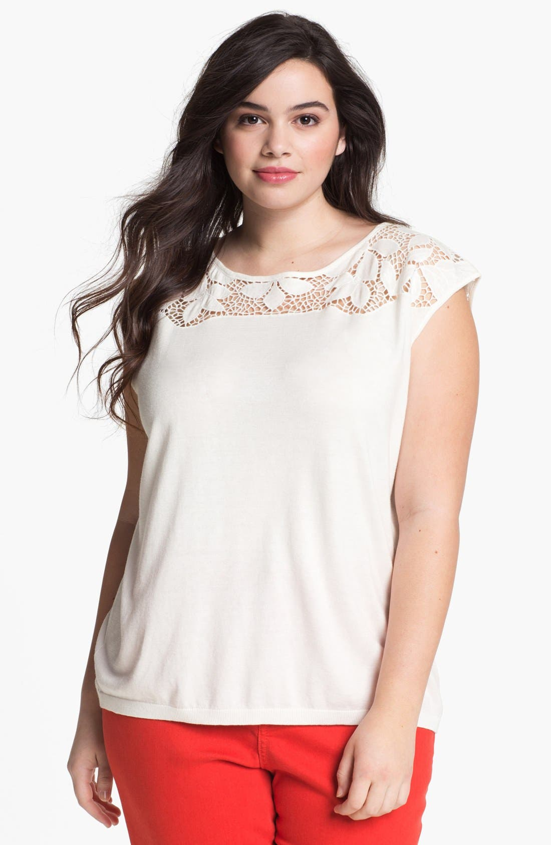 Alternate Image 1 Selected - DKNYC Lace Yoke Top (Plus Size)