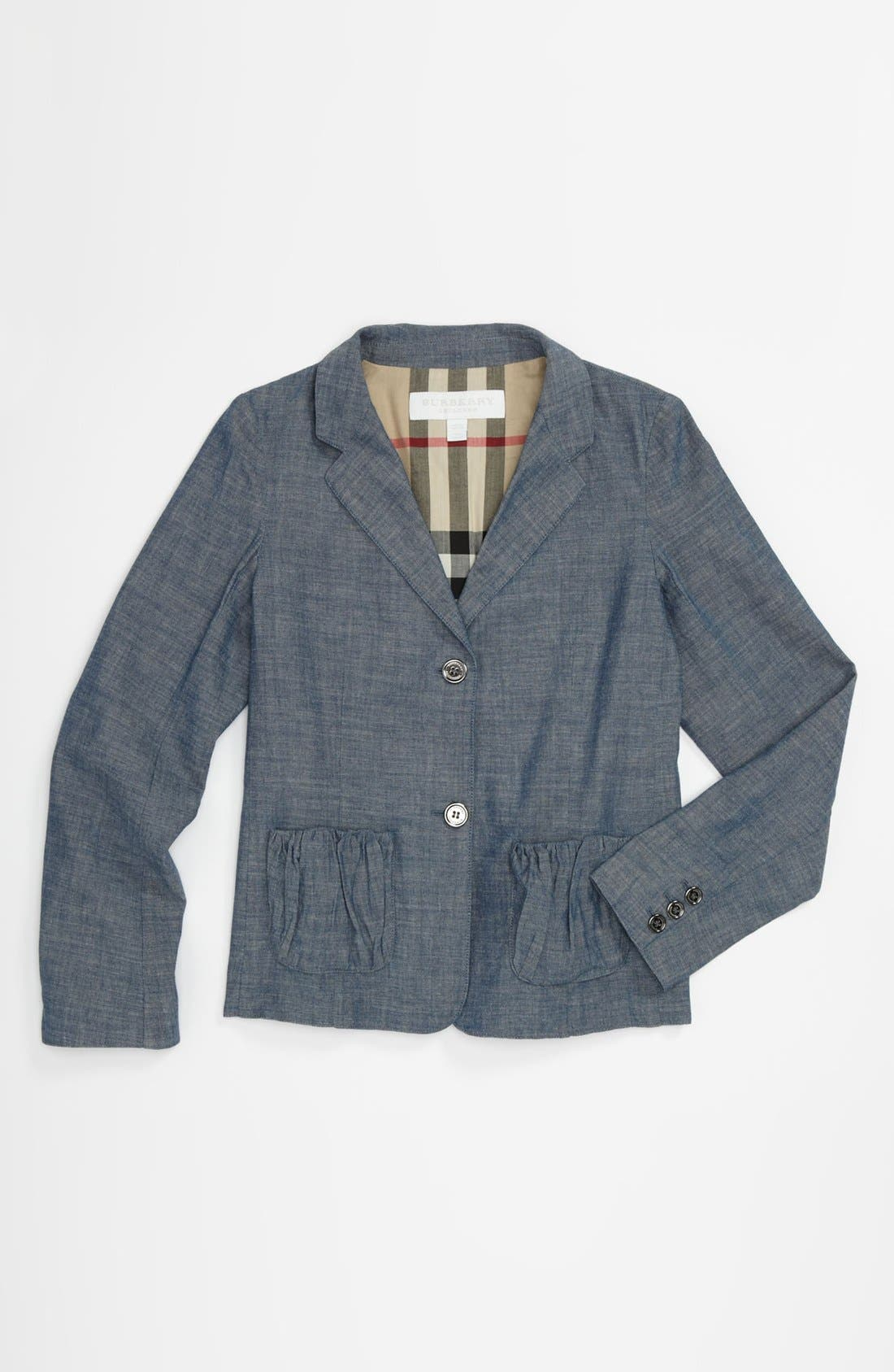 Main Image - Burberry 'Julie' Chambray Blazer (Little Girls & Big Girls)
