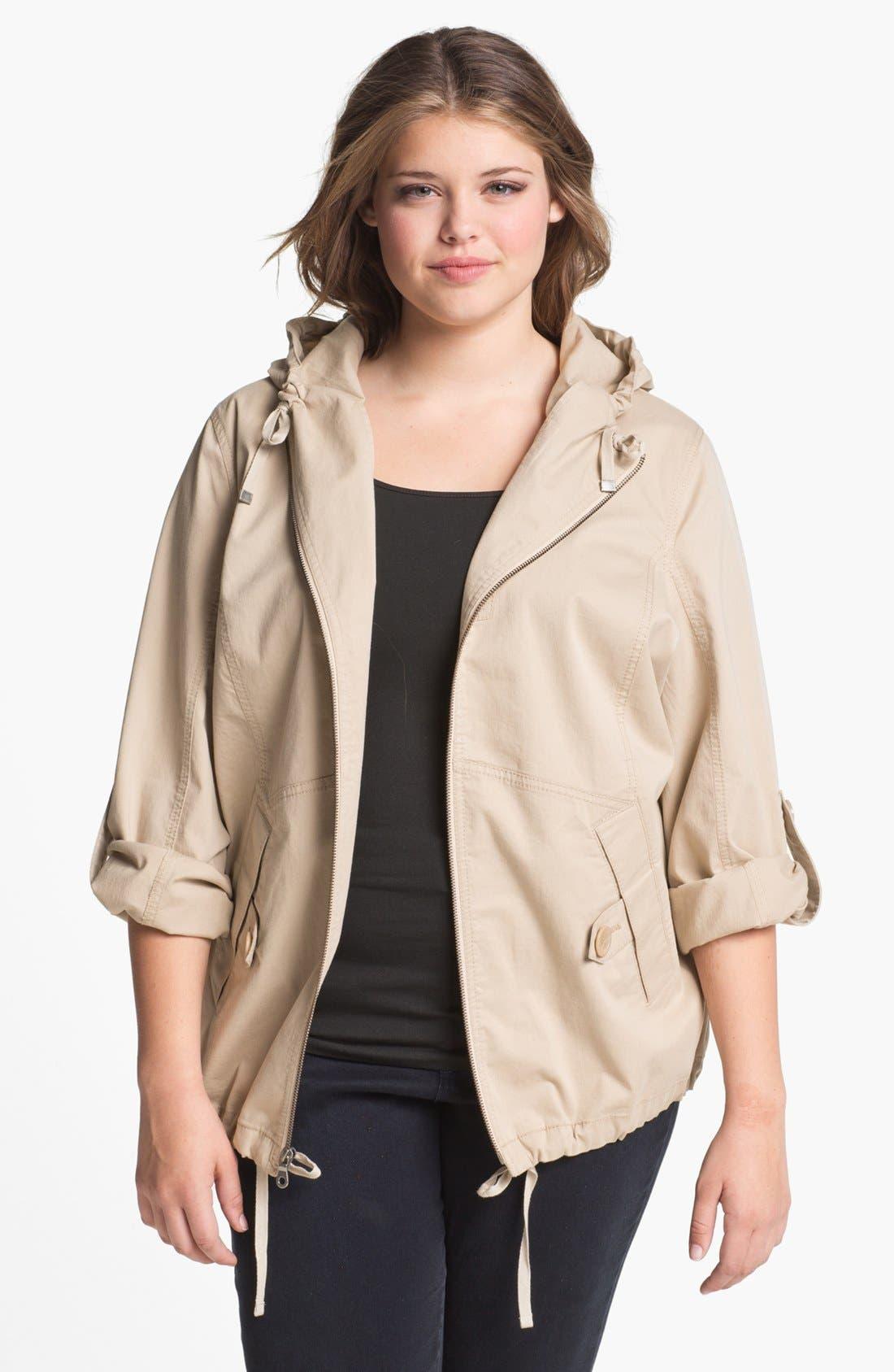 Main Image - Sejour 'Megan' Front Zip Hooded Jacket (Plus Size)