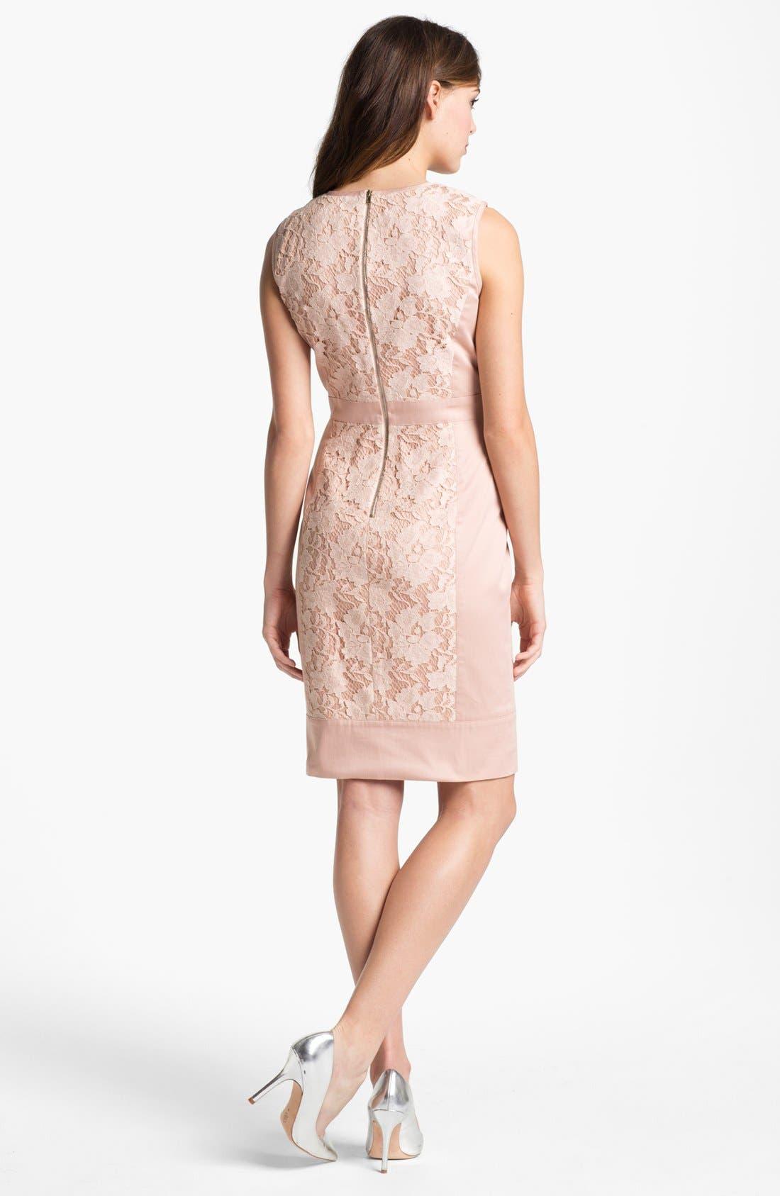 Alternate Image 2  - Maggy London Lace Panel Sheath Dress