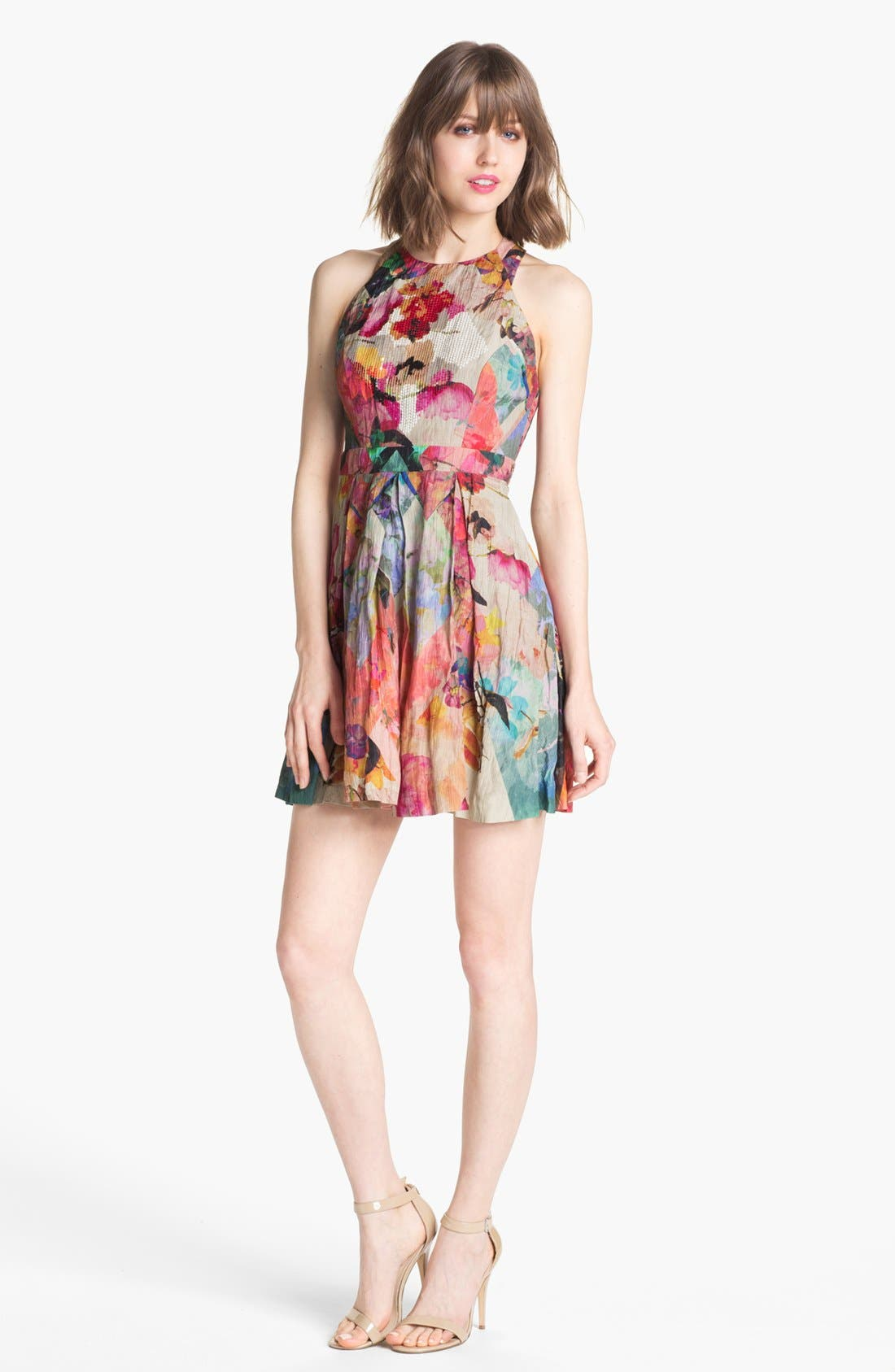 Alternate Image 1 Selected - Nicole Miller 'Blue Eden' Floral Print Fit & Flare Dress