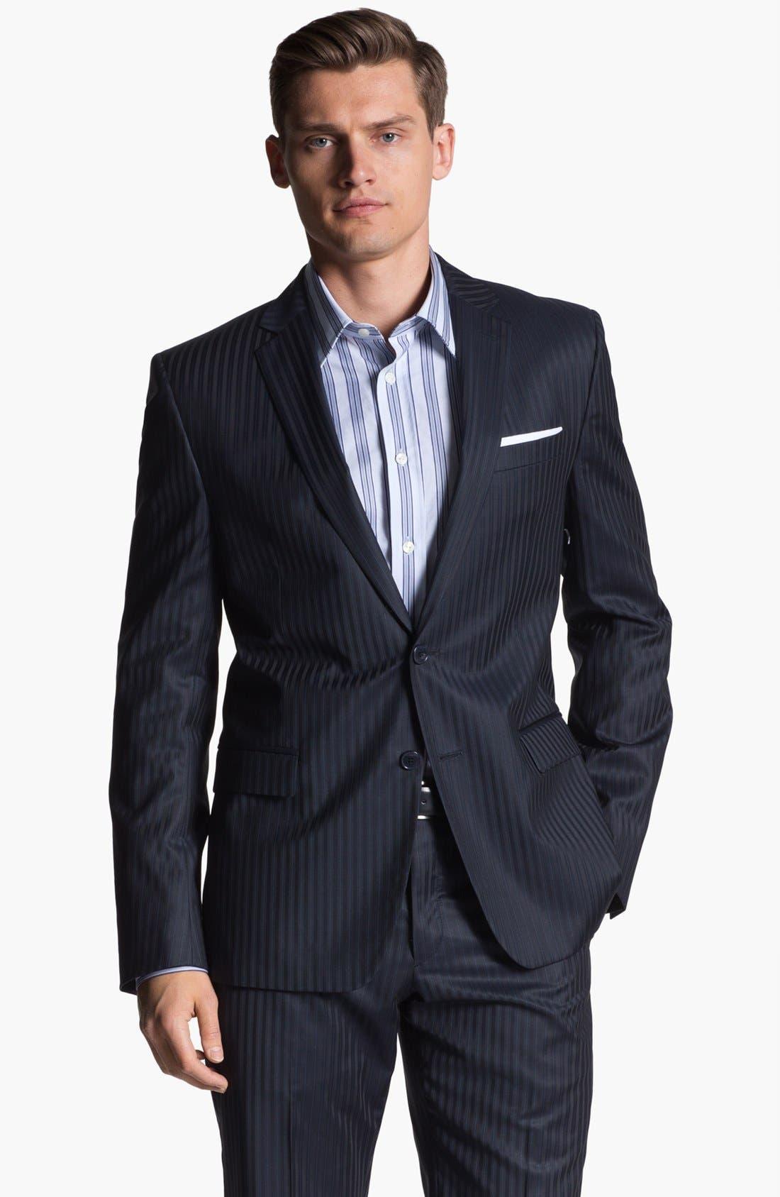 Alternate Image 1 Selected - Versace Trim Fit Stripe Suit