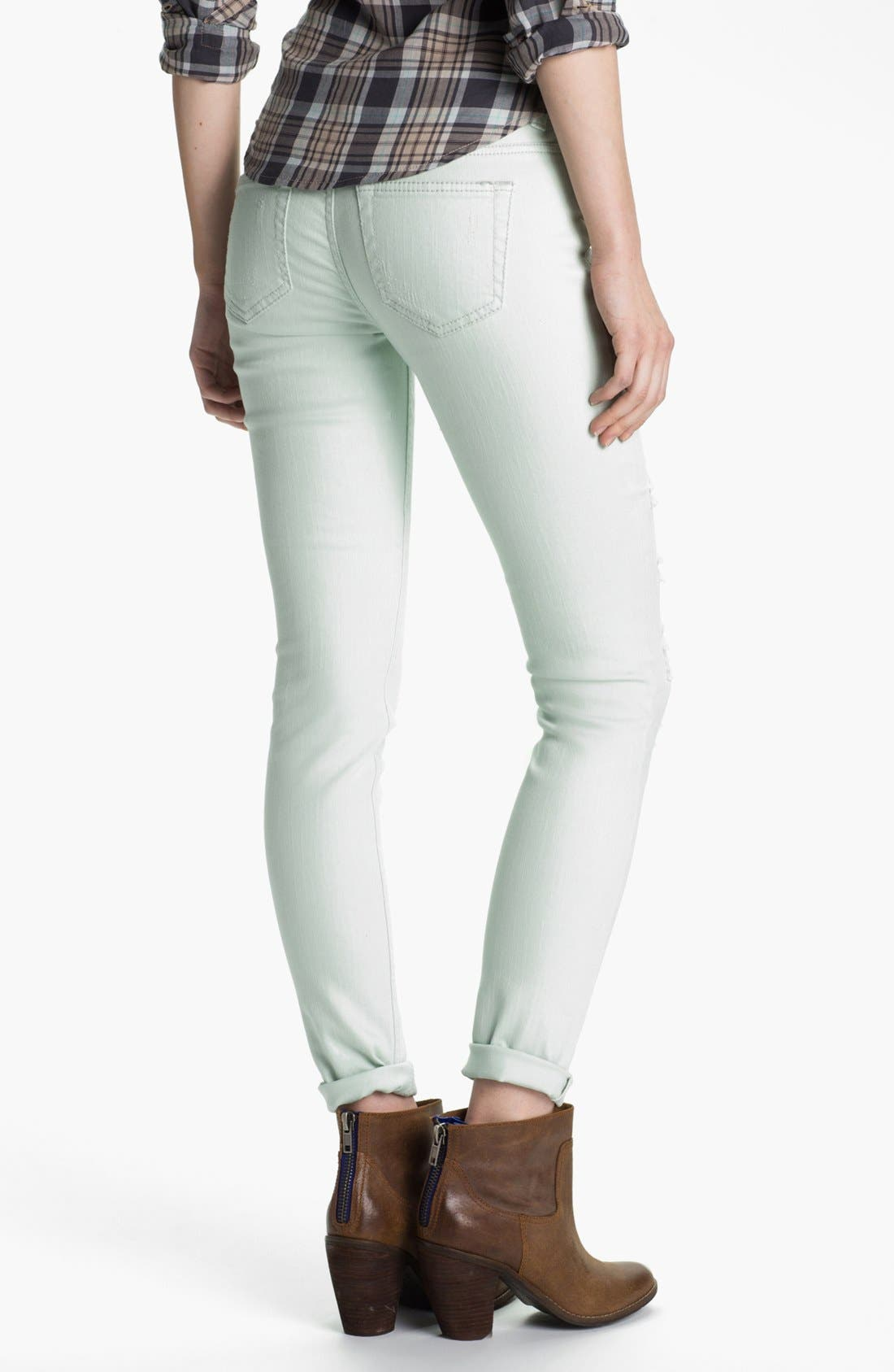 Alternate Image 2  - Fire Destroyed Pastel Denim Skinny Jeans (Juniors) (Online Only)