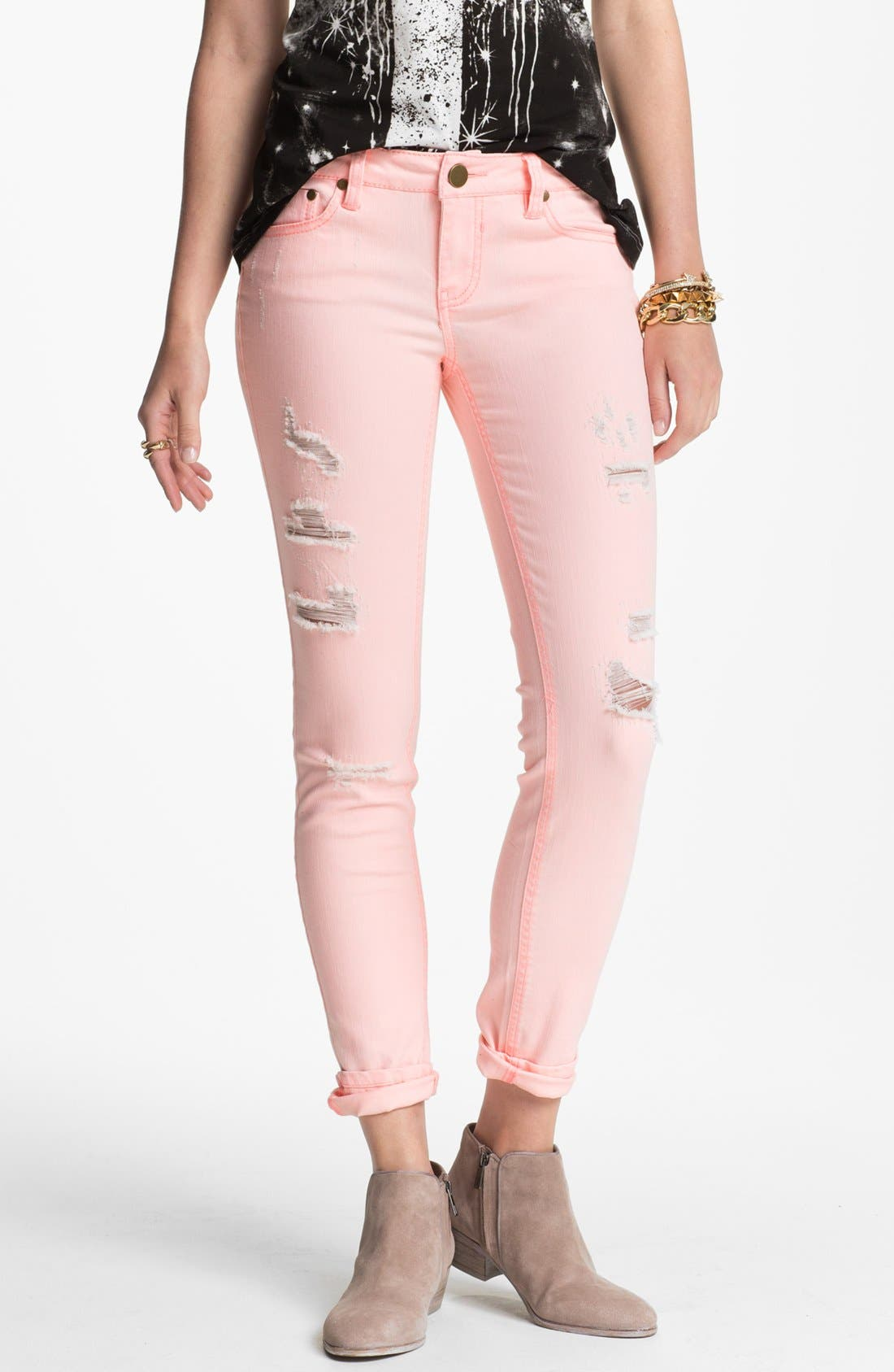 Alternate Image 1 Selected - Fire Destroyed Pastel Denim Skinny Jeans (Juniors) (Online Only)