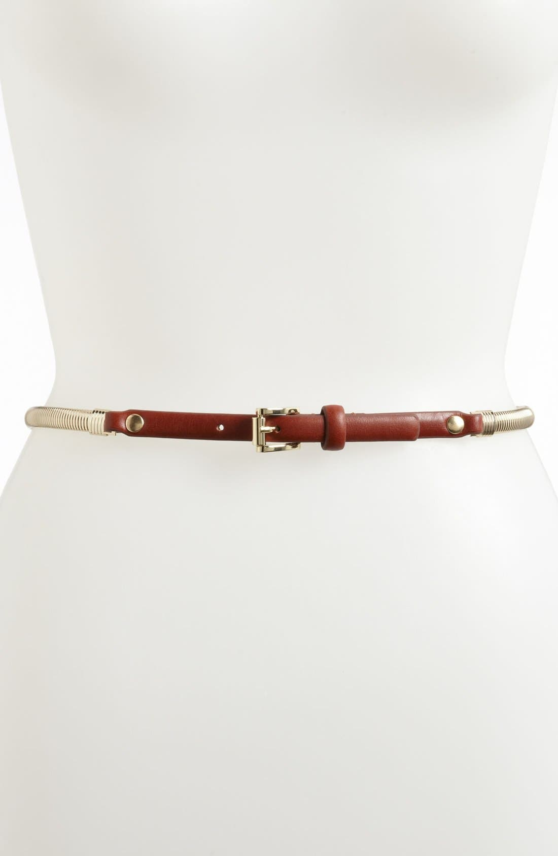 Leather & Metal Skinny Stretch Belt,                         Main,                         color, Cognac