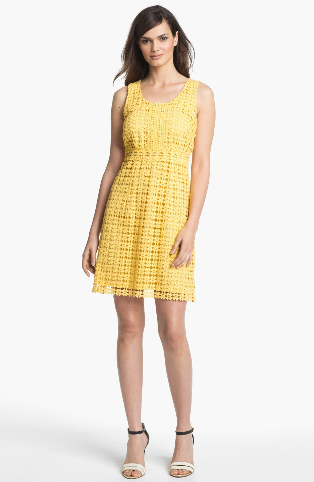 Alternate Image 1 Selected - Laundry by Shelli Segal Sleeveless Lace Cotton Dress