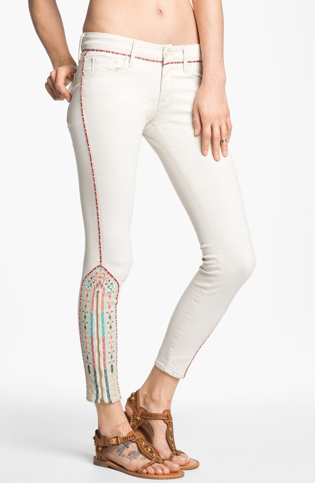 Alternate Image 1 Selected - MOTHER 'The Looker' Ankle Zip Skinny Jeans (Barefoot)