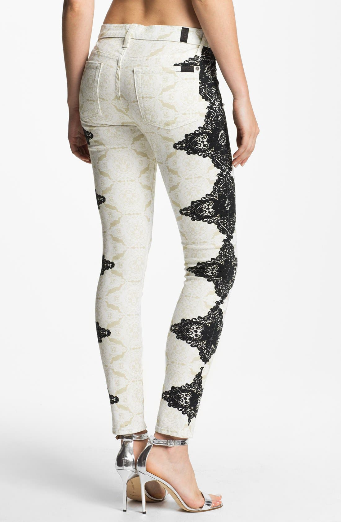 Alternate Image 2  - 7 For All Mankind® 'The Skinny' Placement Print Jeans (Lace on Lace)