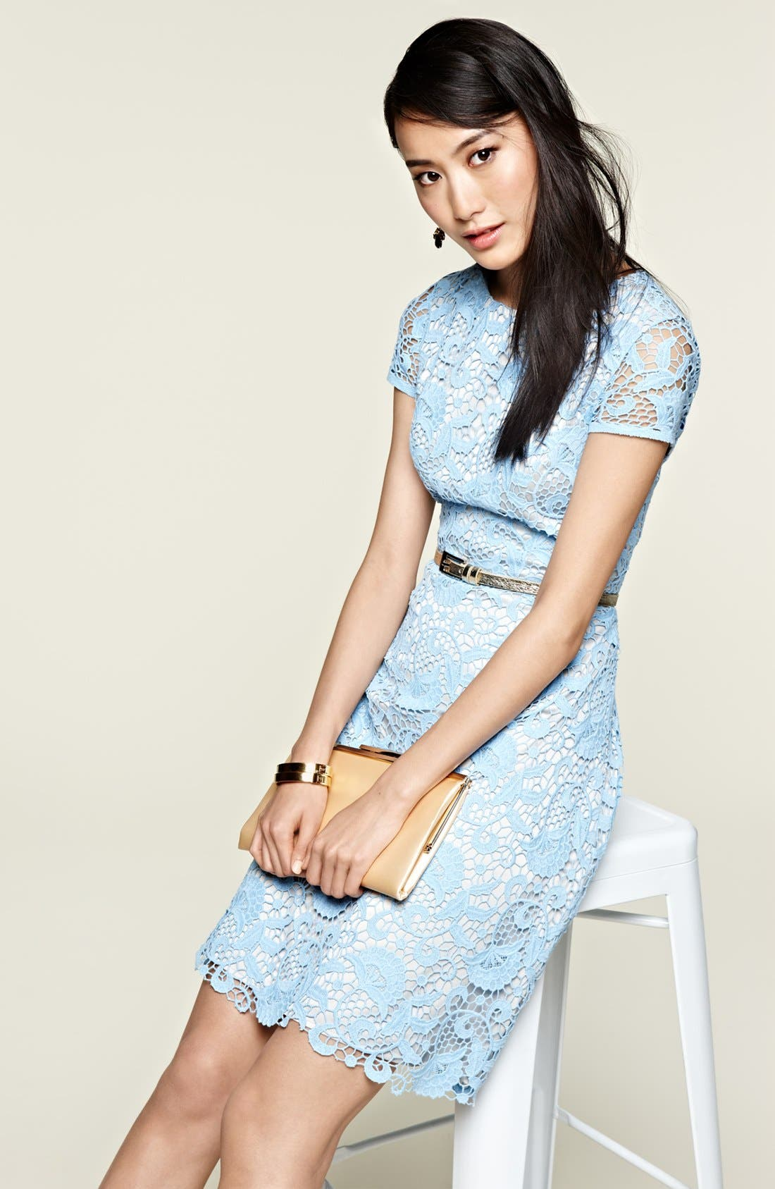 Alternate Image 4  - Eliza J Belted Cotton Lace Dress