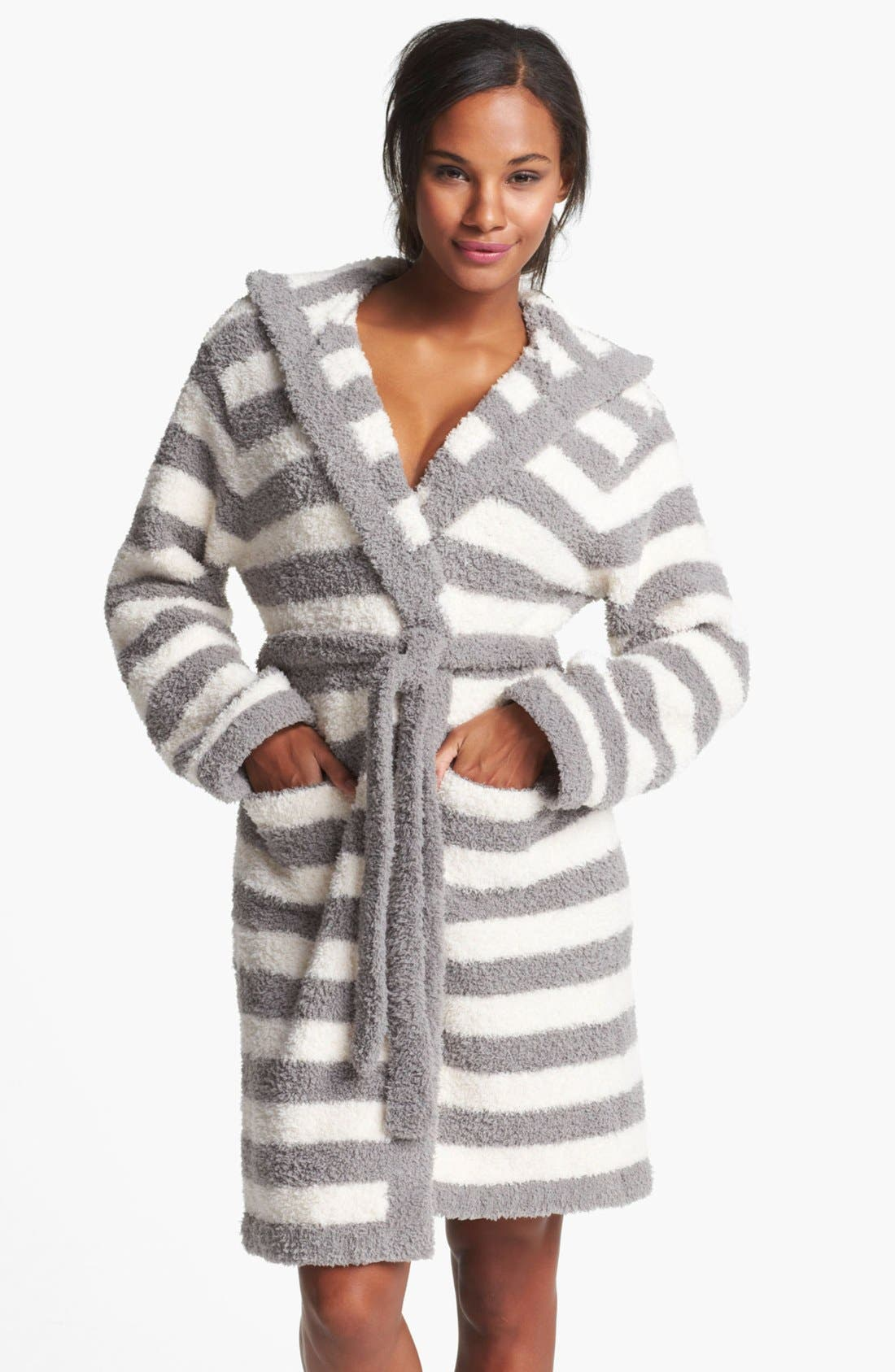 Main Image - Barefoot Dreams® CozyChic® Stripe Hooded Robe