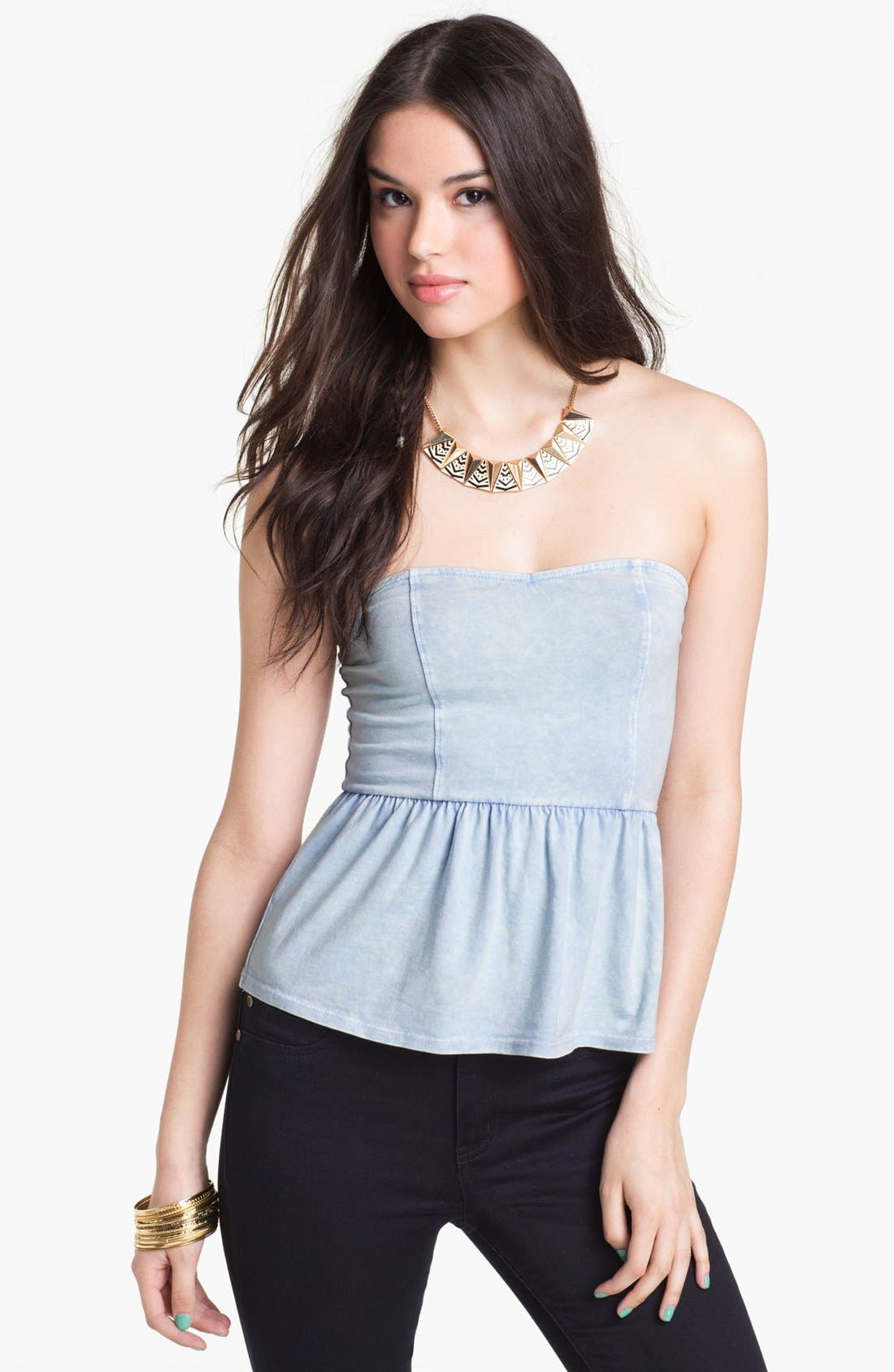 Main Image - Painted Threads Strapless Peplum Top (Juniors) (Online Only)