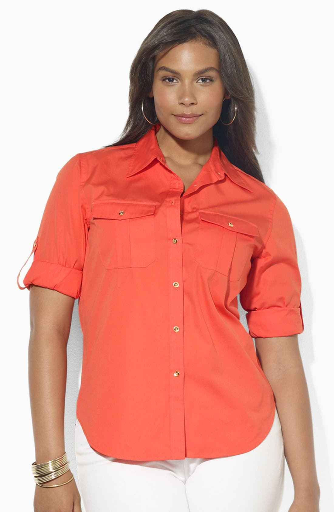 Main Image - Lauren Ralph Lauren Cotton Work Shirt (Plus Size)
