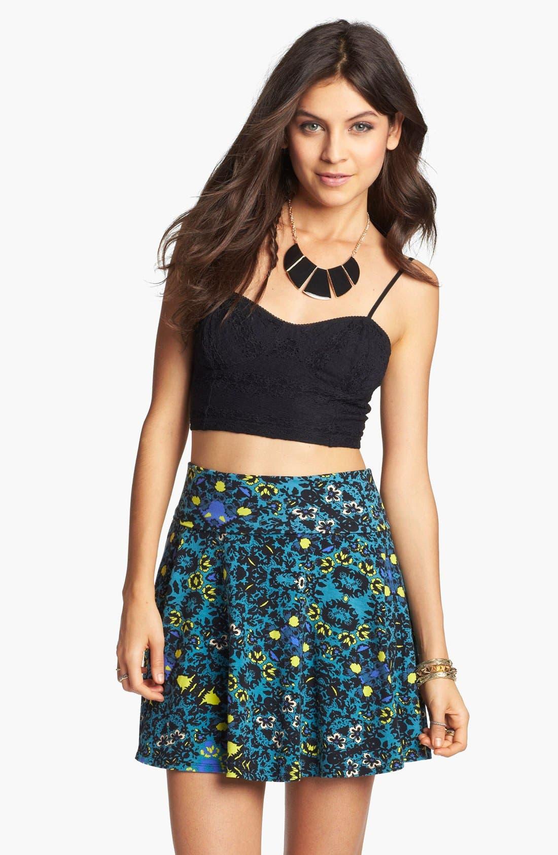 Main Image - Lily White Textured Skater Skirt (Juniors) (Online Only)