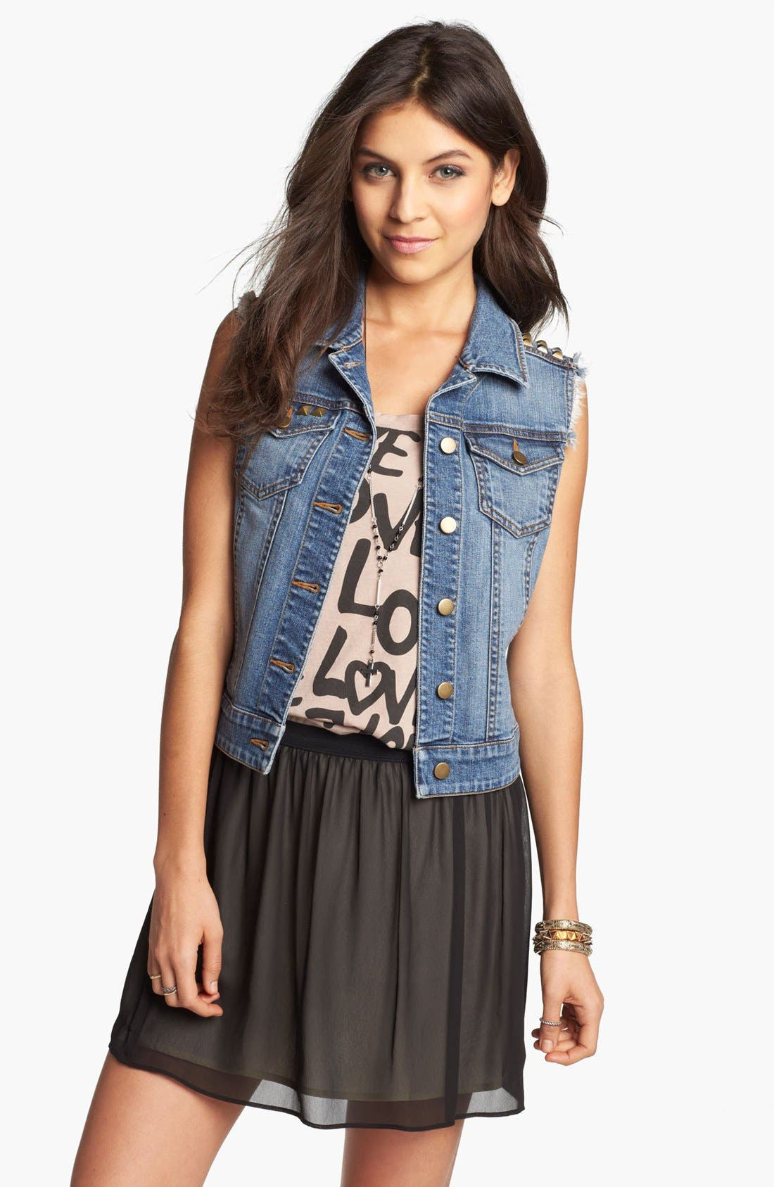 Alternate Image 1 Selected - Frenchi® Chiffon Miniskirt (Juniors)