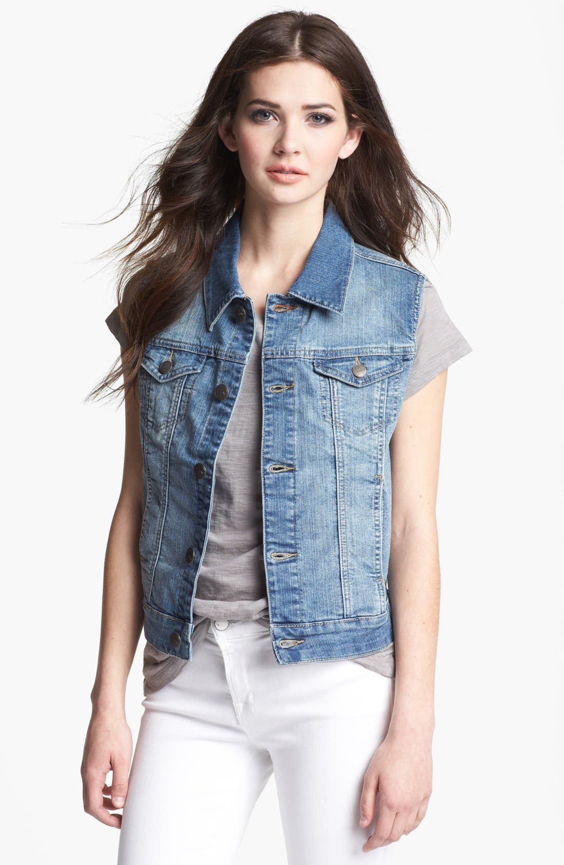 Alternate Image 1 Selected - Jag Jeans 'Camden' Denim Vest (Petite)