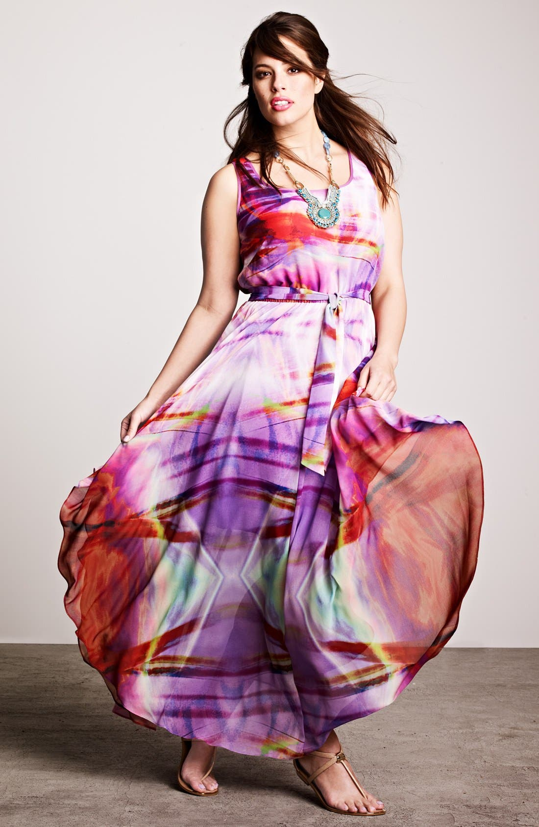 Alternate Image 4  - Ivy & Blu for Maggy Boutique Print Maxi Dress (Plus Size)