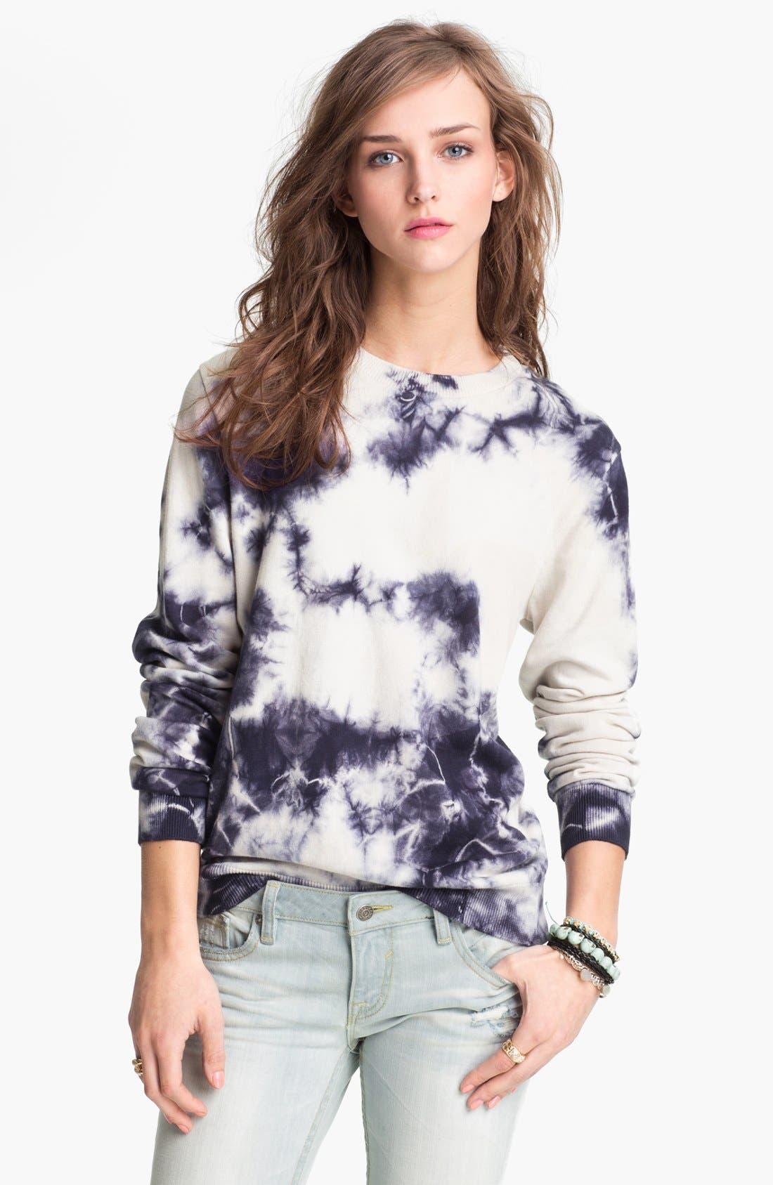 Main Image - Truehitt Tie Dye Crewneck Sweater (Juniors)