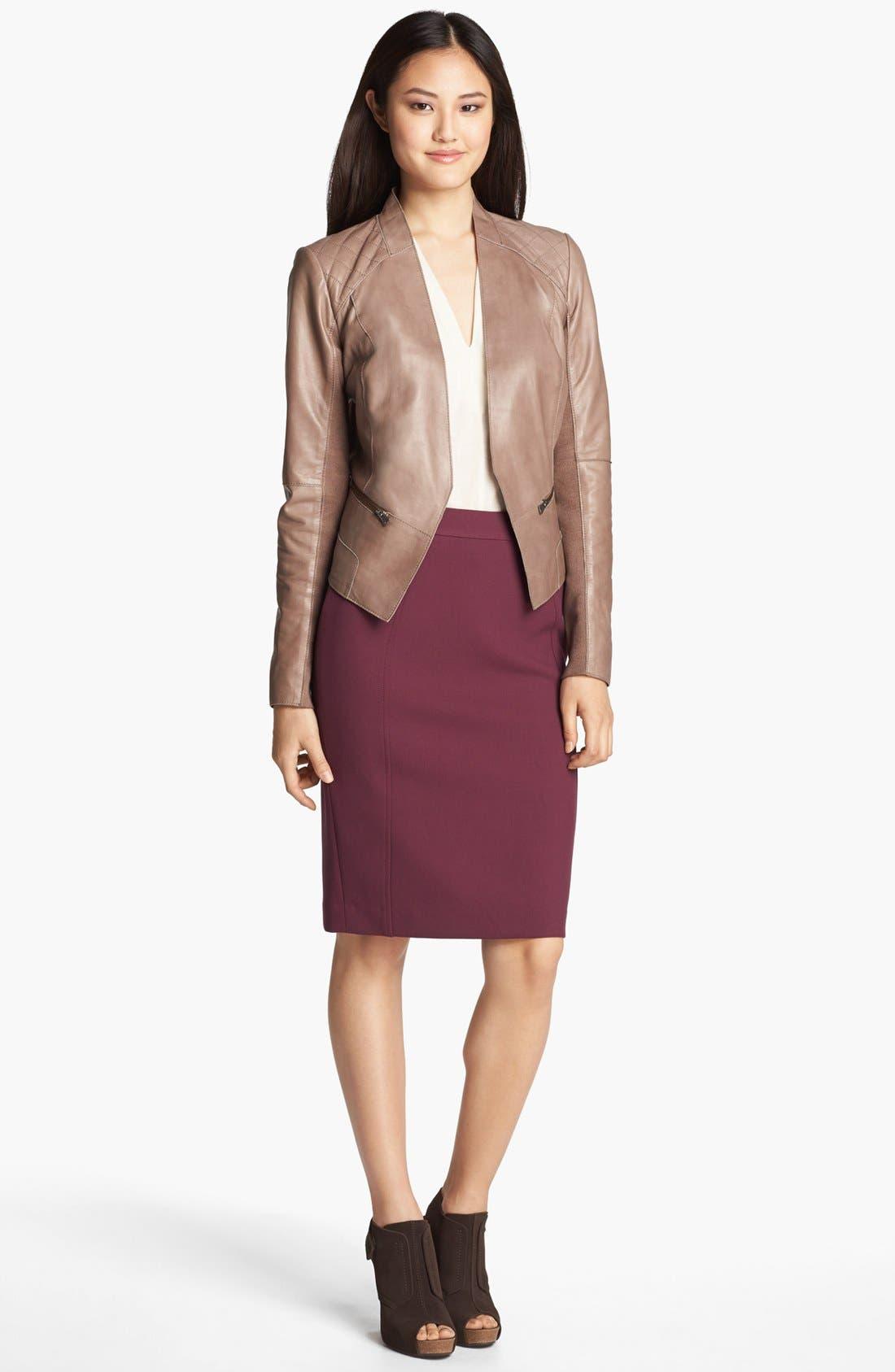 Alternate Image 1 Selected - Halogen® Cutaway Leather Jacket