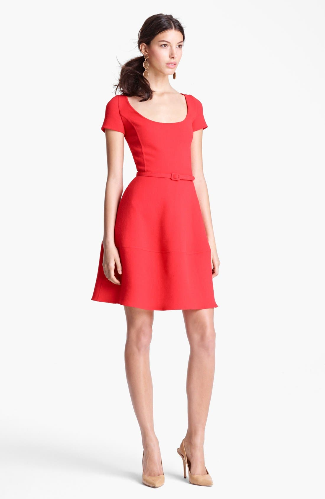 Main Image - Oscar de la Renta Belted Full Skirt Dress