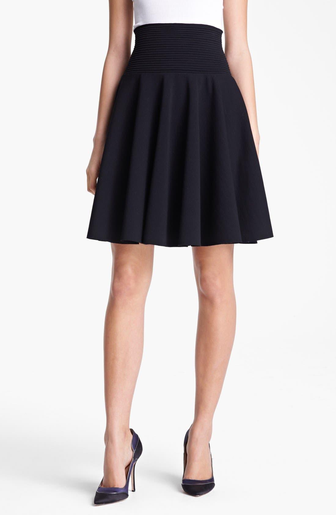 Flared Knit Skirt,                             Main thumbnail 1, color,                             Black