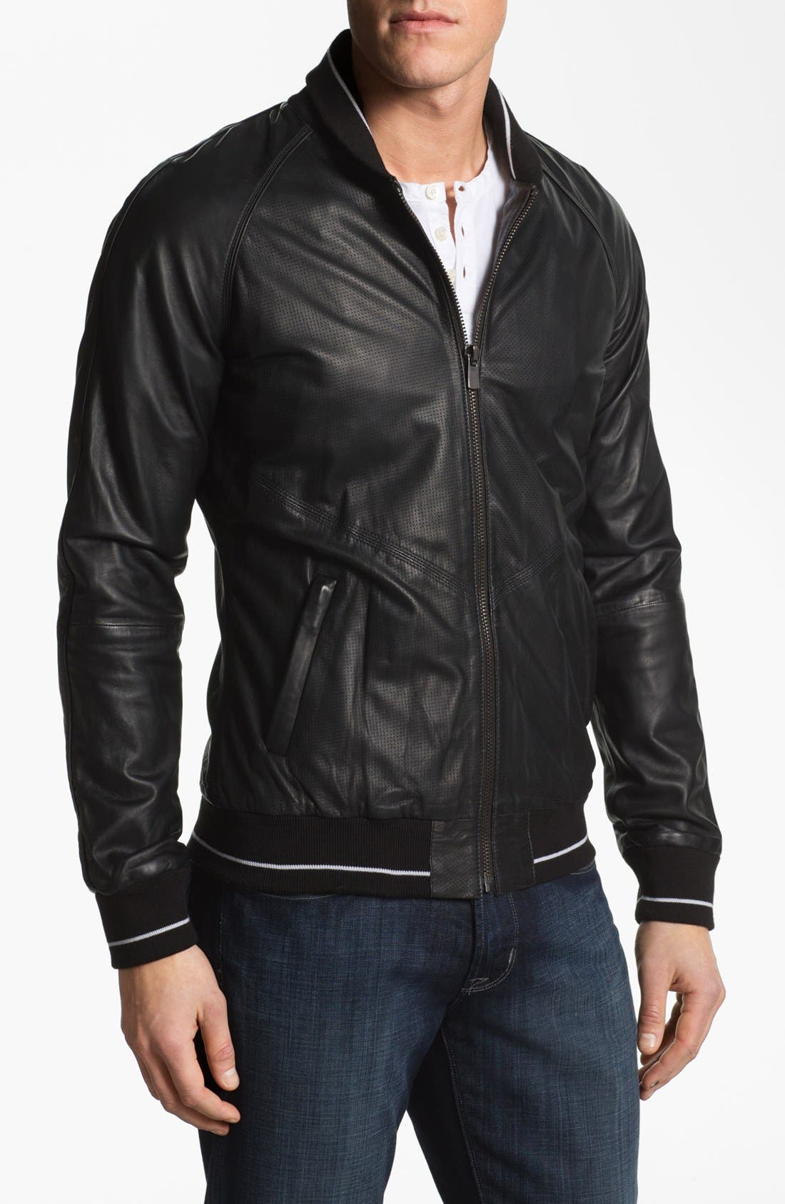 Main Image - La Marque Leather Baseball Jacket