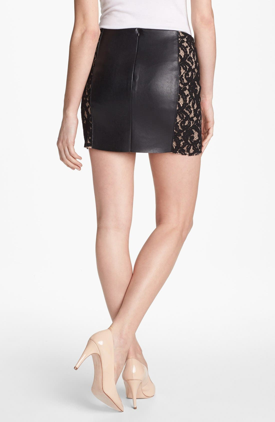 Alternate Image 2  - Bailey 44 'Sangria' Faux Leather & Lace Trim Miniskirt