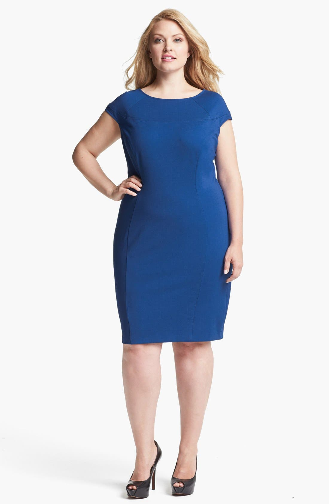 Fitted Ponte Knit Dress,                         Main,                         color, Cobalt
