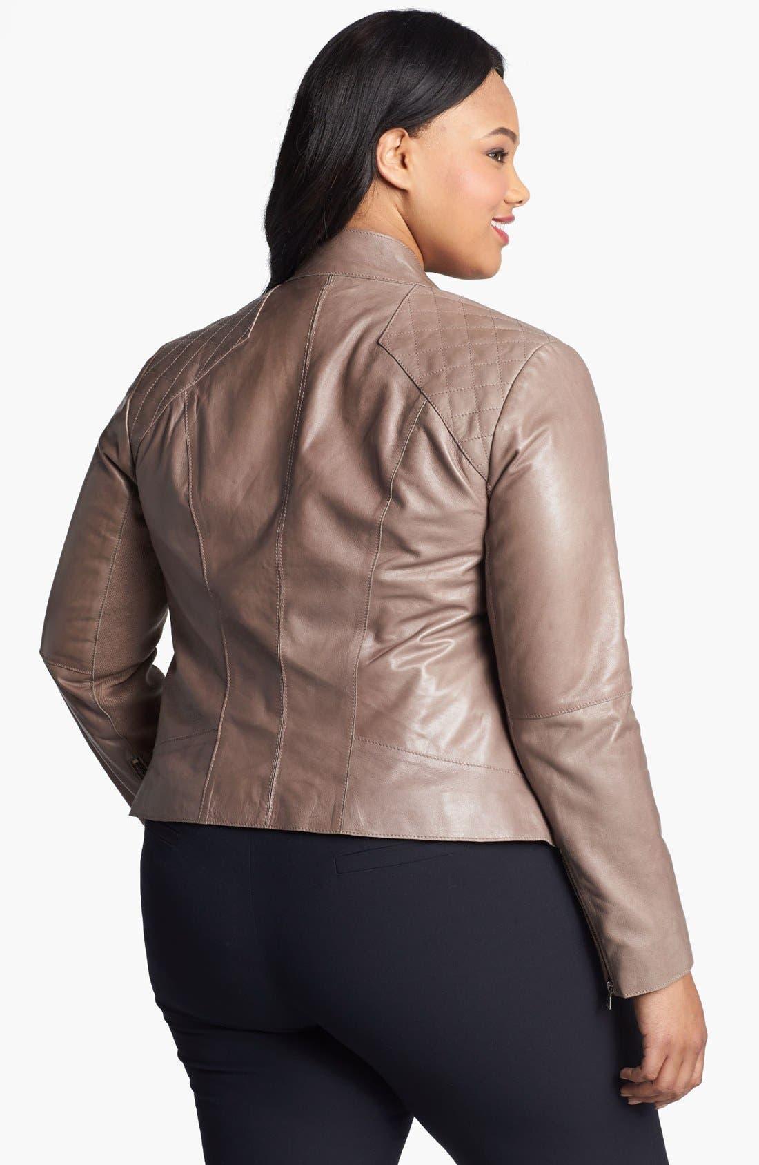 Alternate Image 2  - Halogen® Cutaway Leather Jacket (Plus Size)