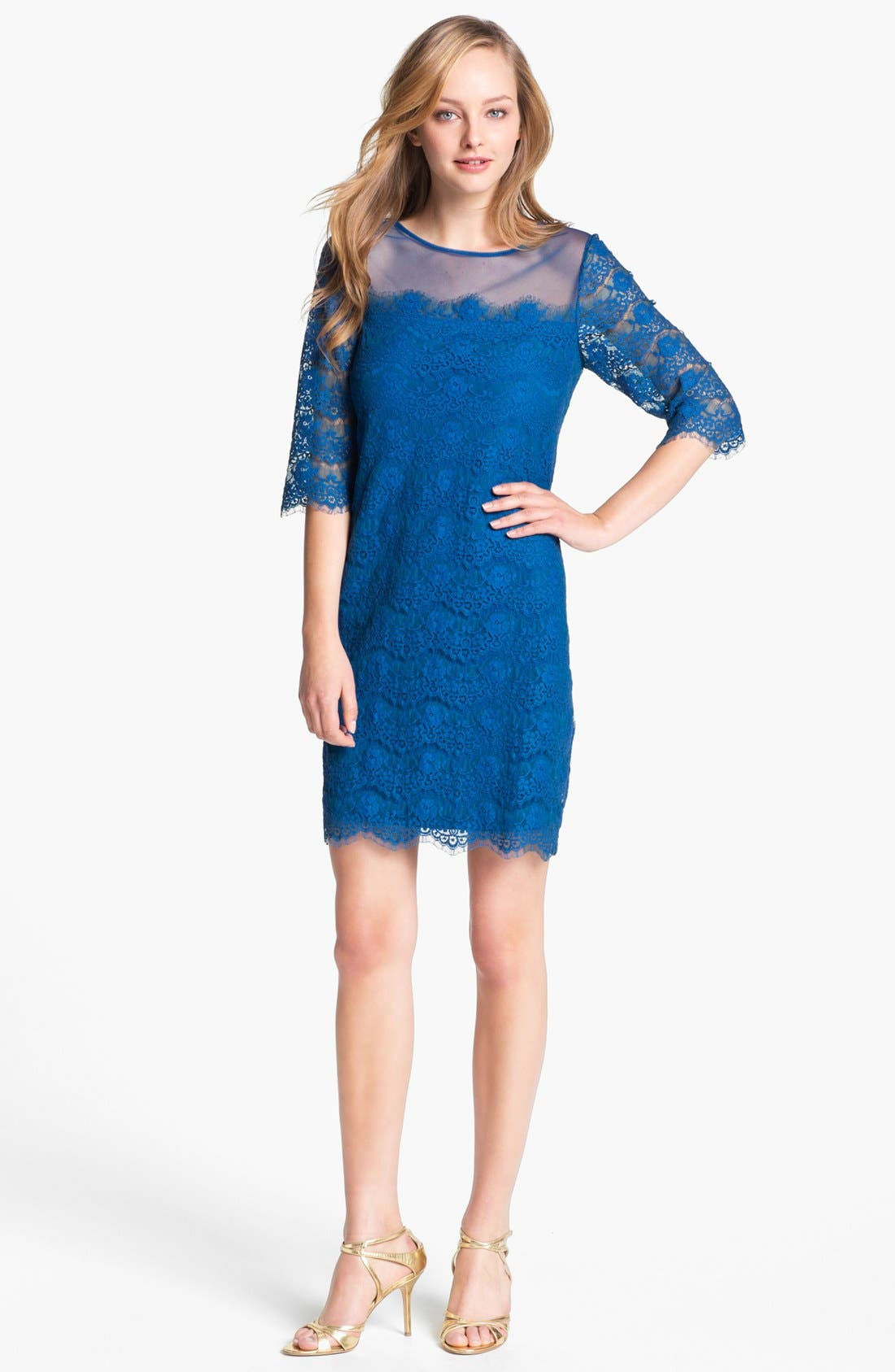 Alternate Image 1 Selected - Max & Cleo 'Lillian' Scalloped Lace Minidress