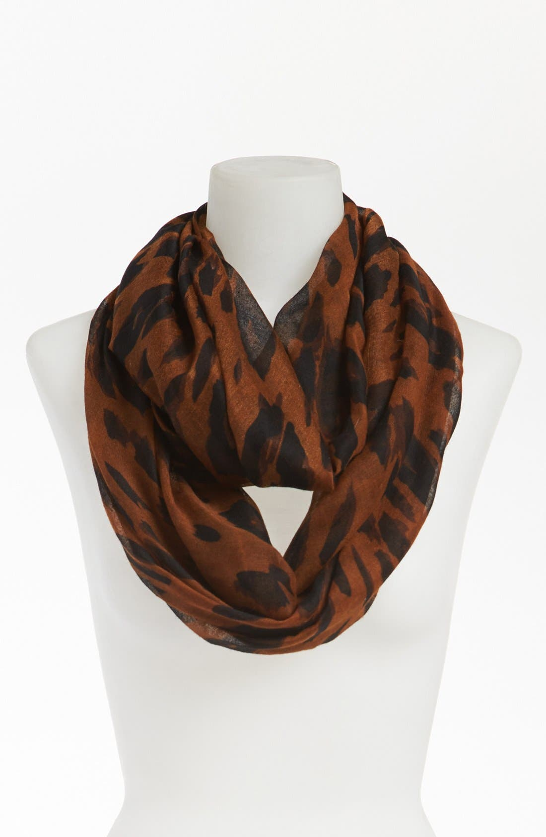 Leopard Print Infinity Scarf,                         Main,                         color, Brown