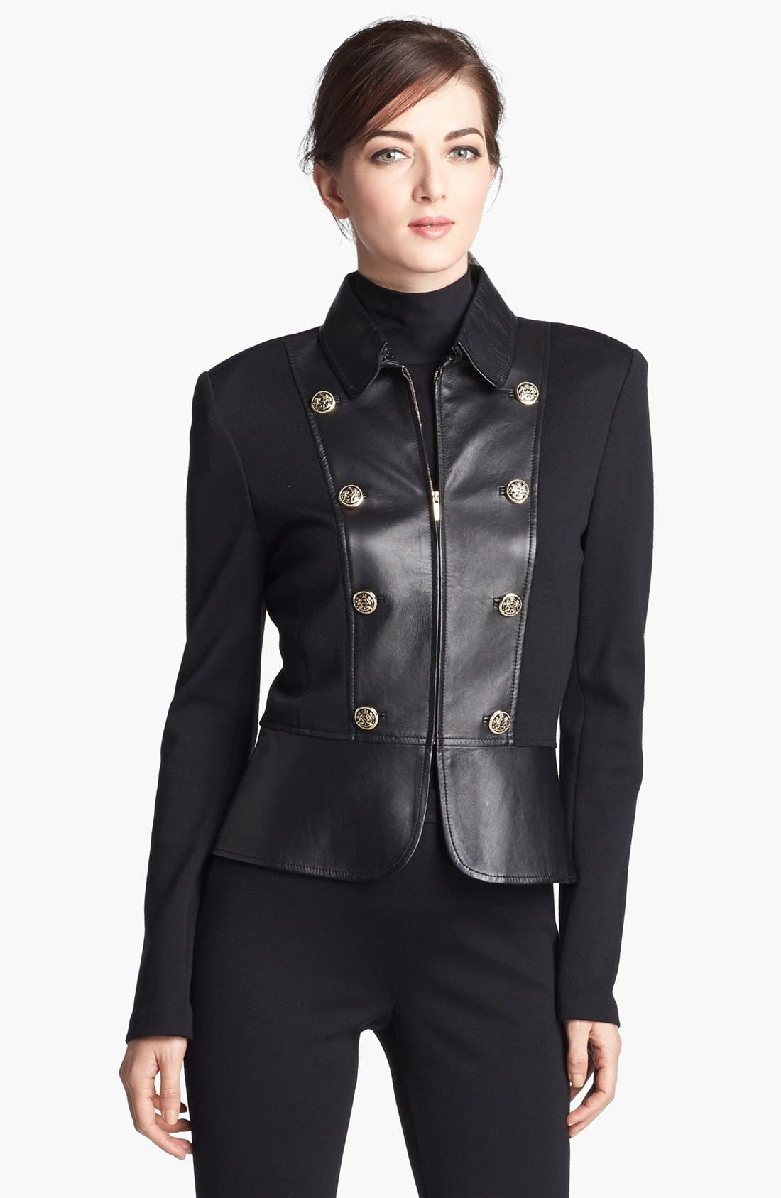 Main Image - St. John Collection Leather & Milano Knit Military Jacket