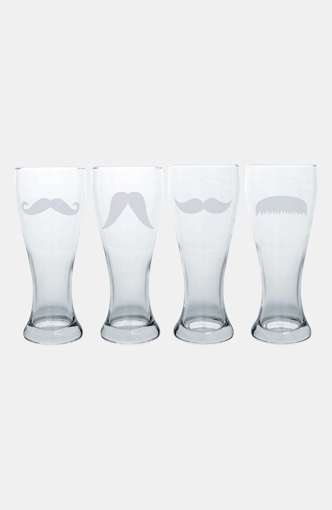 Mustache Pilsner Glasses,                             Alternate thumbnail 2, color,                             No Color