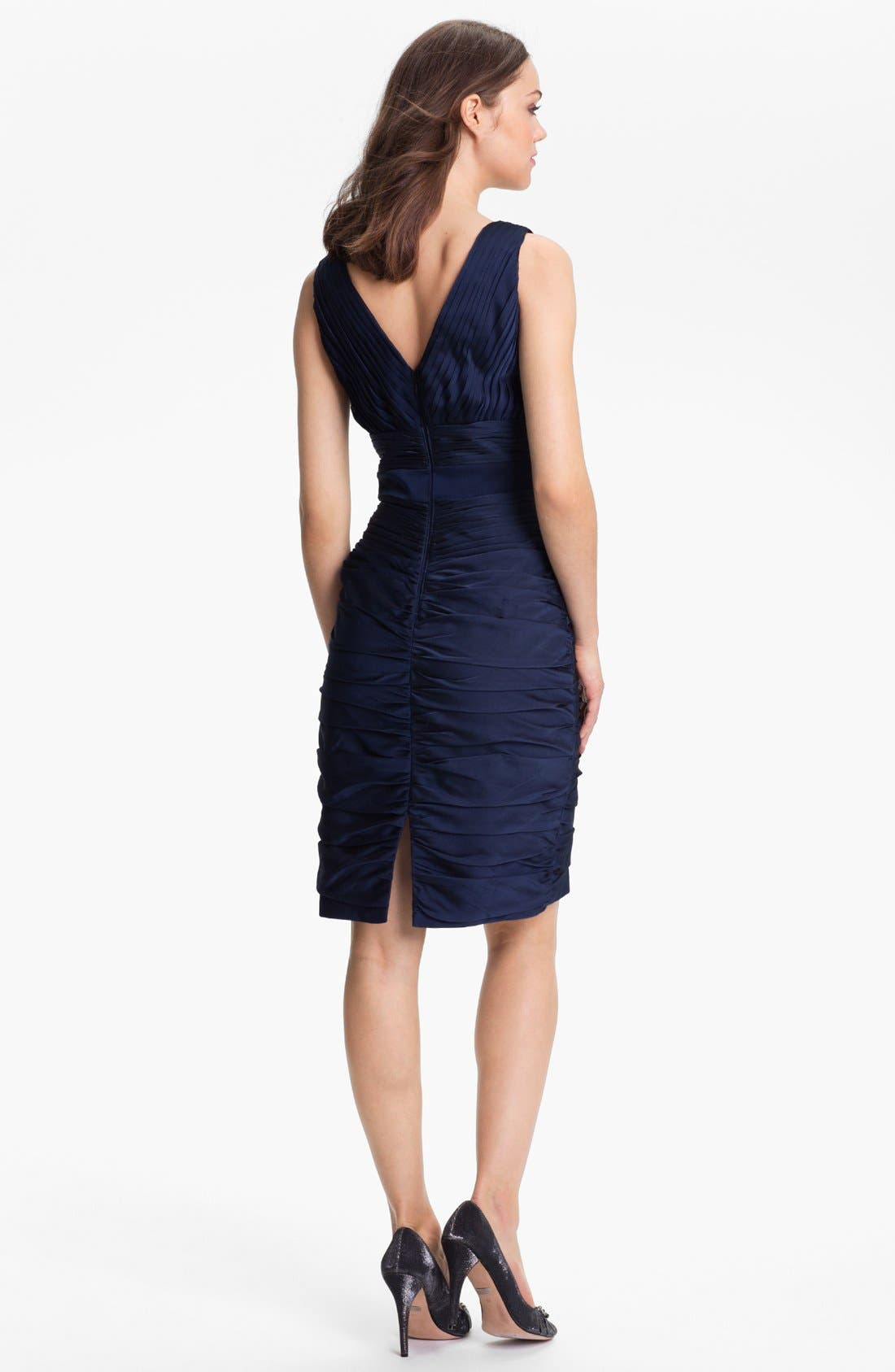 Alternate Image 2  - ML Monique Lhuillier Bridesmaids V-Neck Ruched Chiffon Sheath Dress (Nordstrom Exclusive)