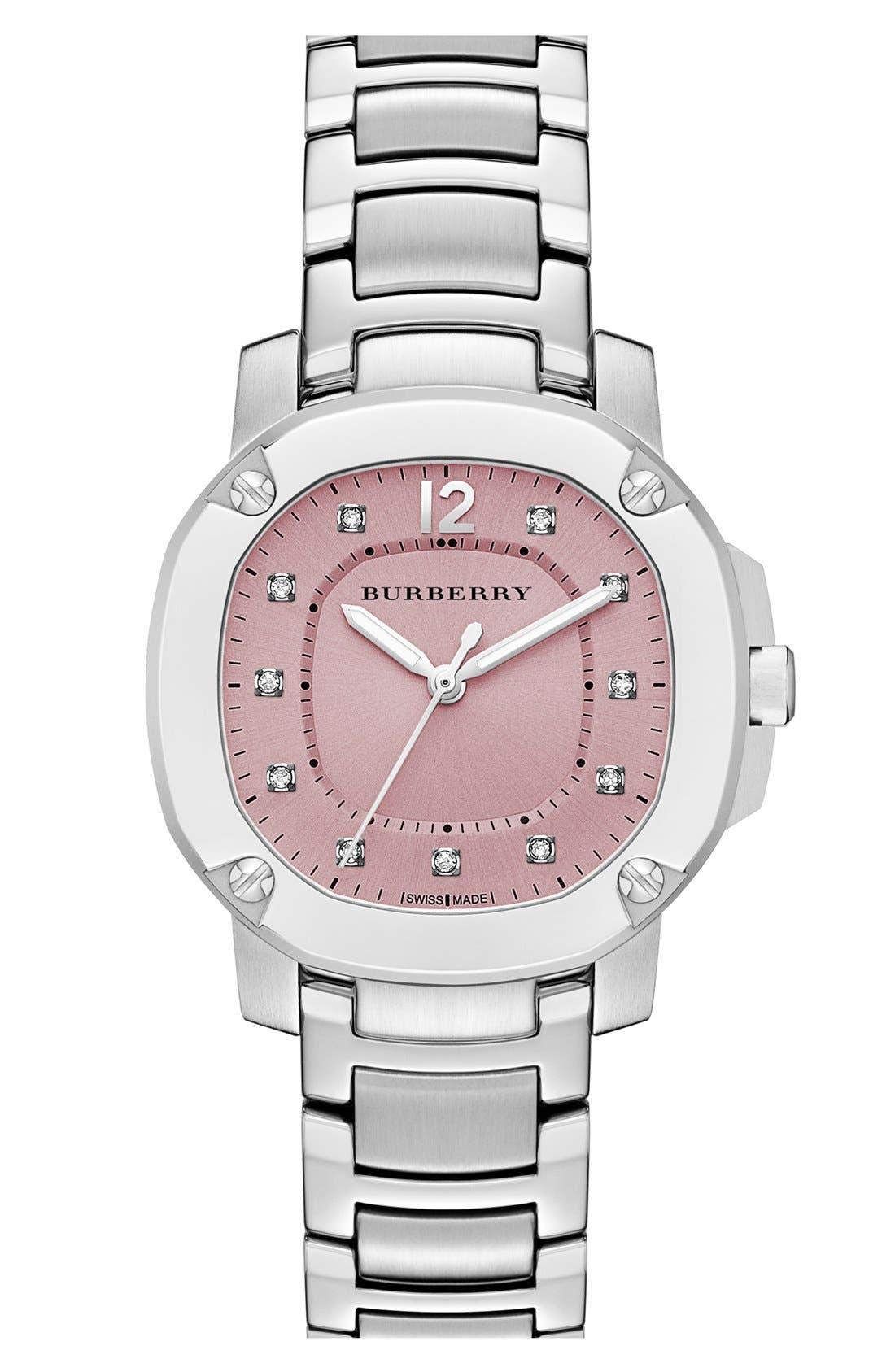 Main Image - Burberry The Britain Diamond Dial Bracelet Watch, 34mm