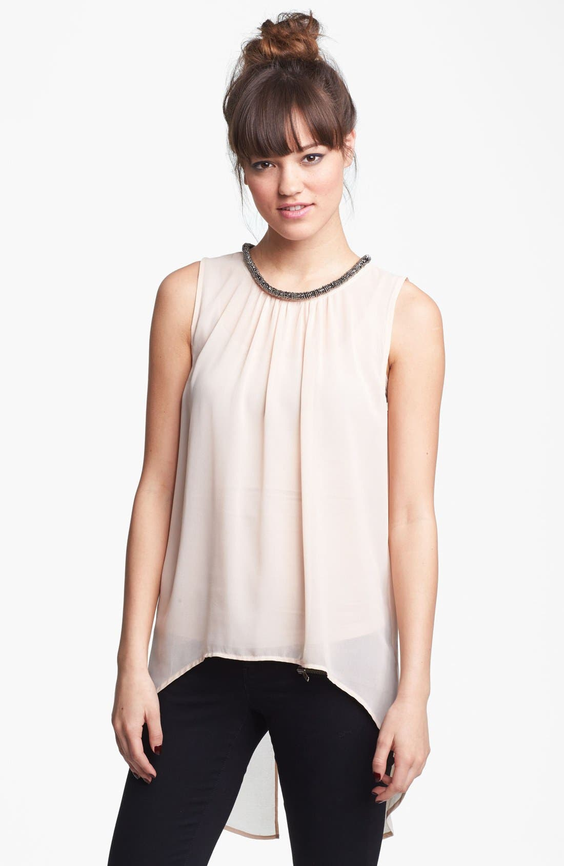 Alternate Image 1 Selected - Chloe K Beaded Neck High/Low Tank (Juniors)