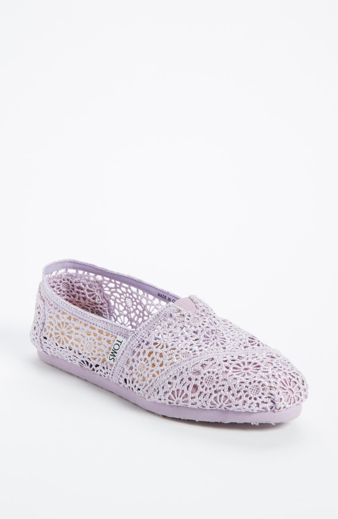 Main Image - TOMS 'Classic - Lilac Snow' Crochet Slip-On (Women)