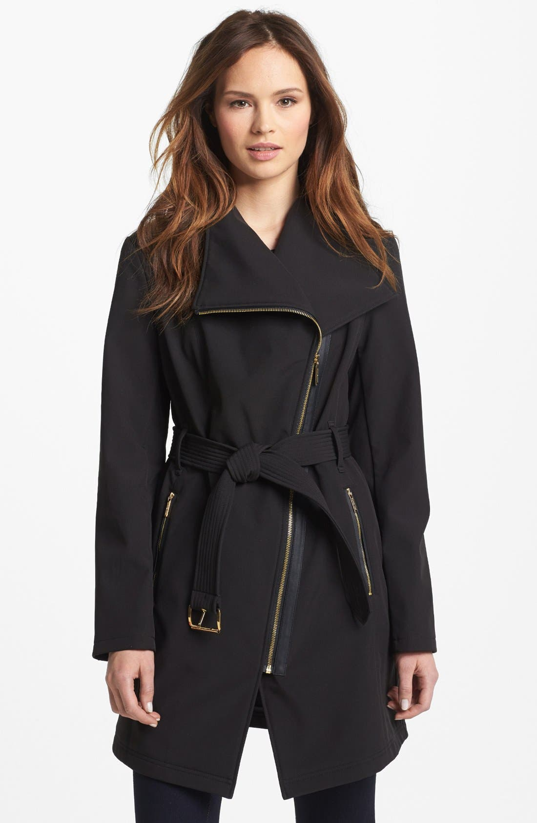 Main Image - MICHAEL Michael Kors Asymmetrical Zip Soft Shell Jacket