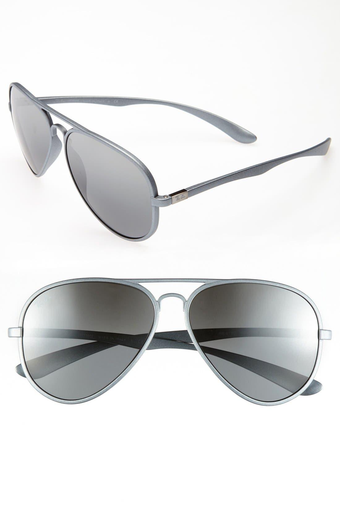 58mm Aviator Sunglasses,                         Main,                         color, Metallic Silver