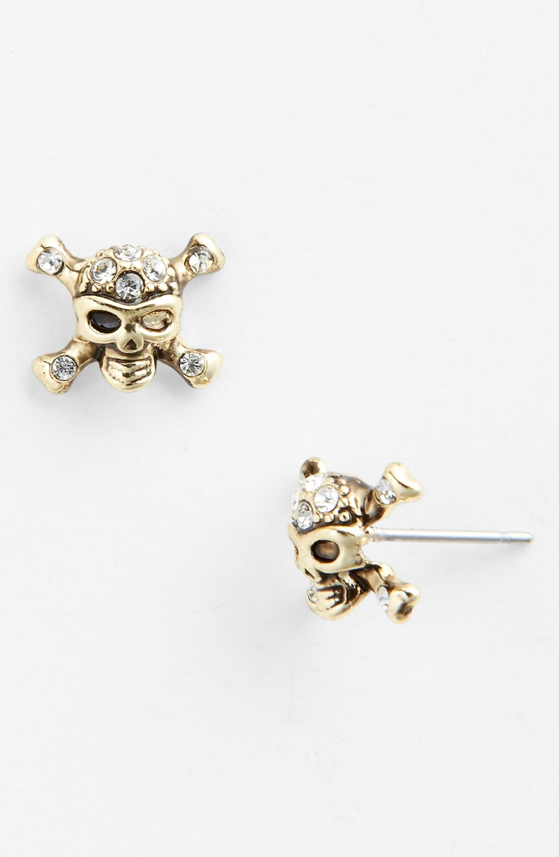 Main Image - Ariella Collection Crystal Detail Skull Stud Earrings (Nordstrom Exclusive)
