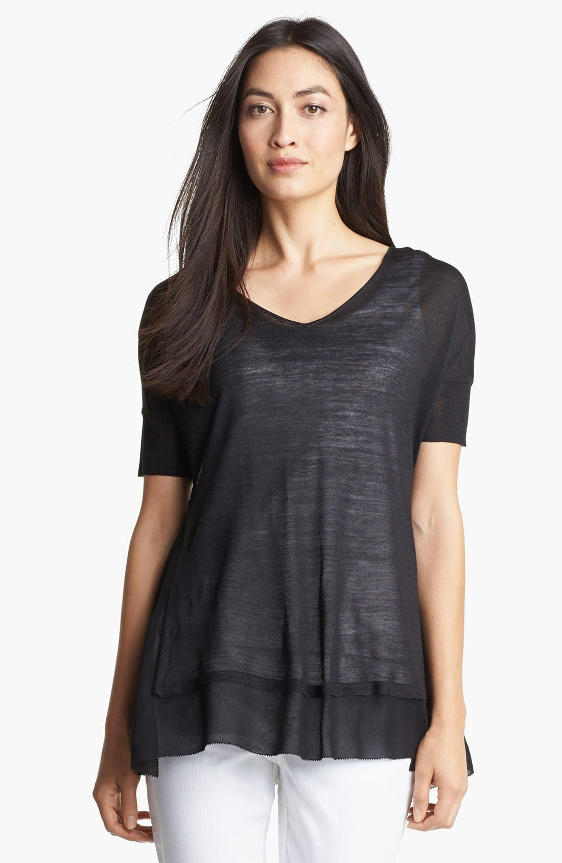 Alternate Image 1 Selected - Eileen Fisher V-Neck Boxy Top