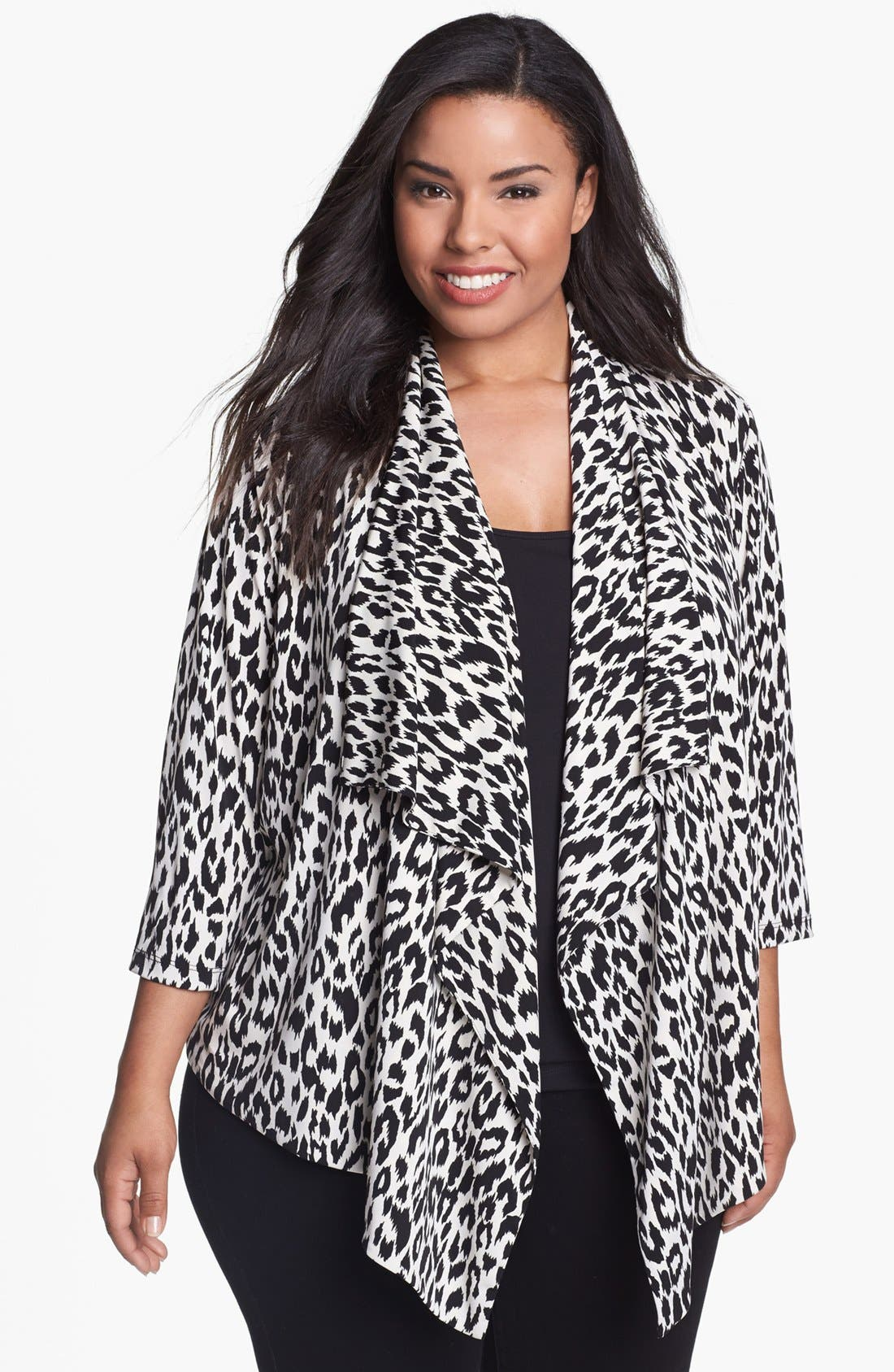 Alternate Image 1 Selected - Karen Kane Leopard Print Drape Jacket (Plus Size)