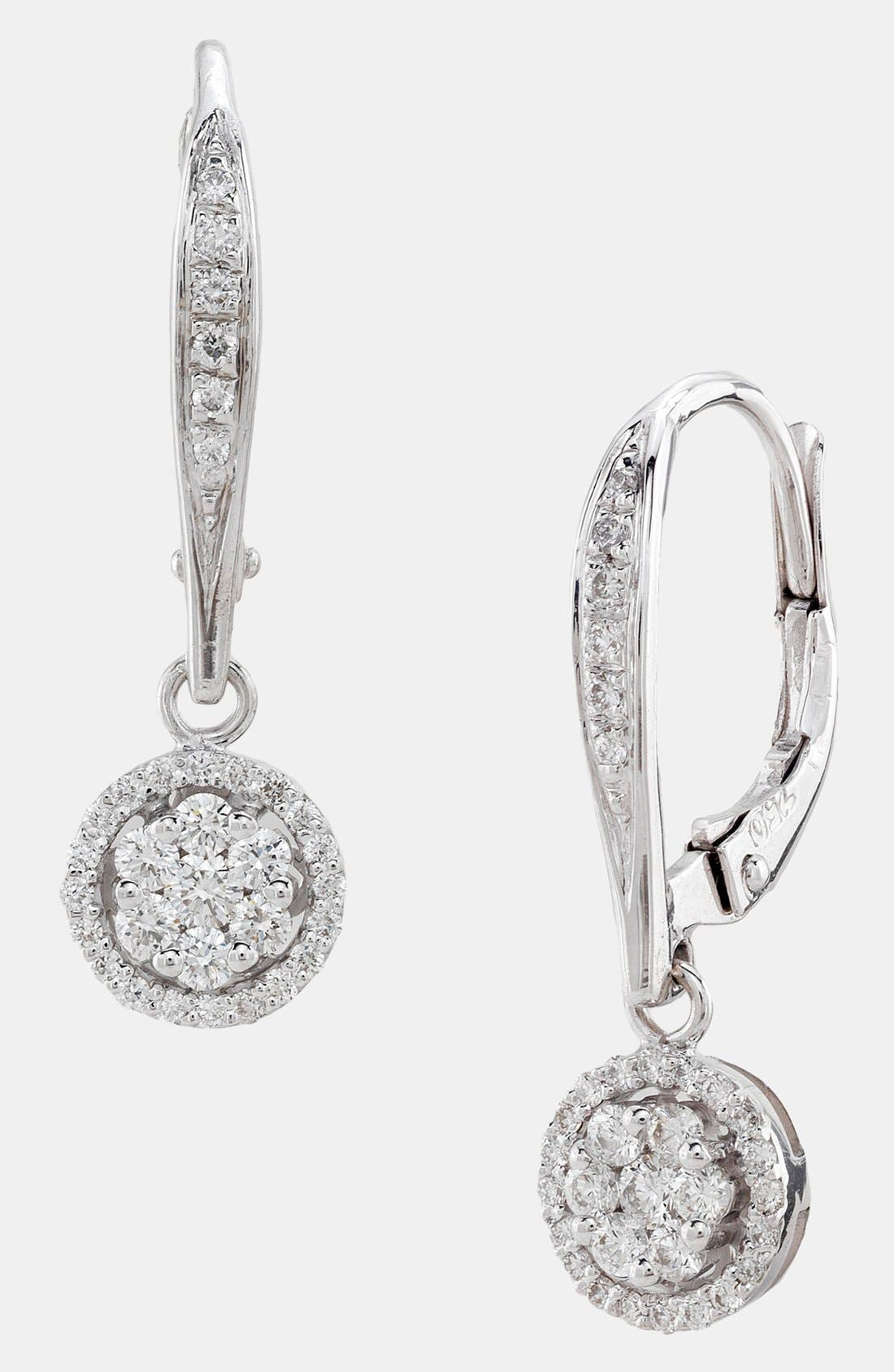Main Image - Bony Levy Diamond Flower Drop Earrings (Nordstrom Exclusive)