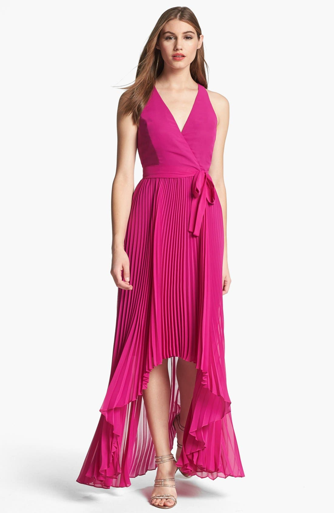 Alternate Image 1 Selected - Max & Cleo Pleated High/Low Gown