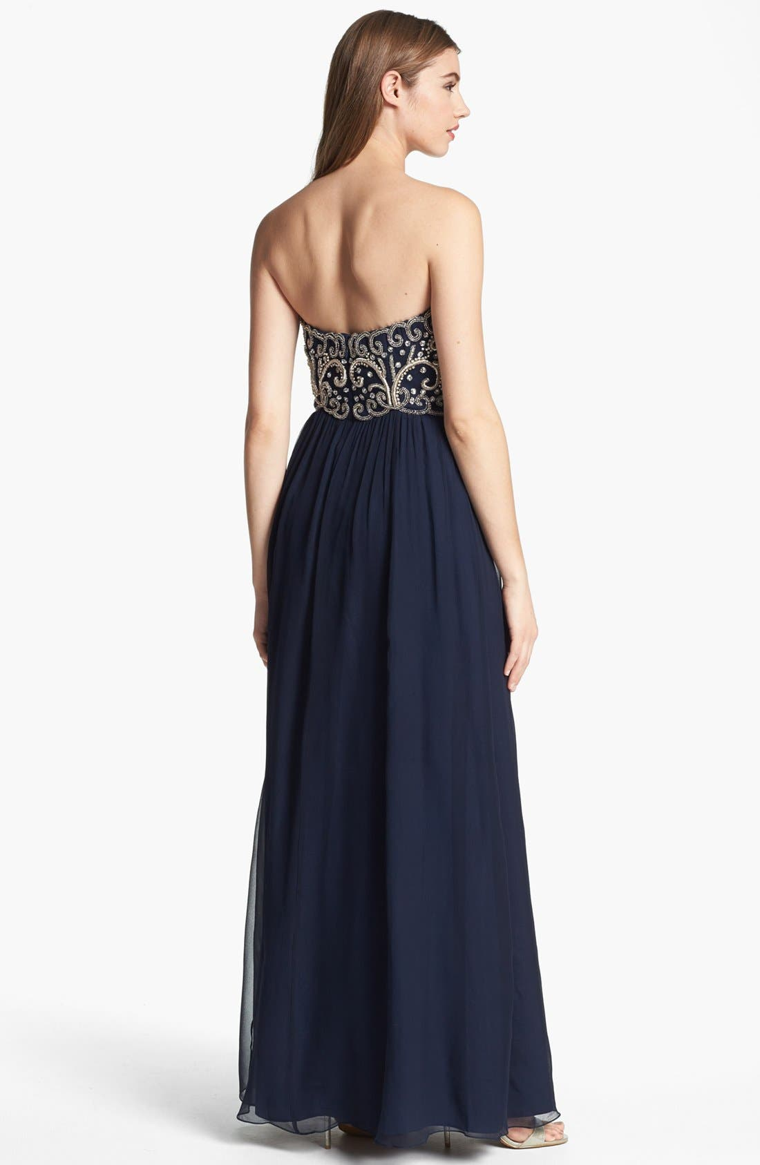 Alternate Image 2  - Sean Collection Embellished Strapless Silk Gown (Online Only)
