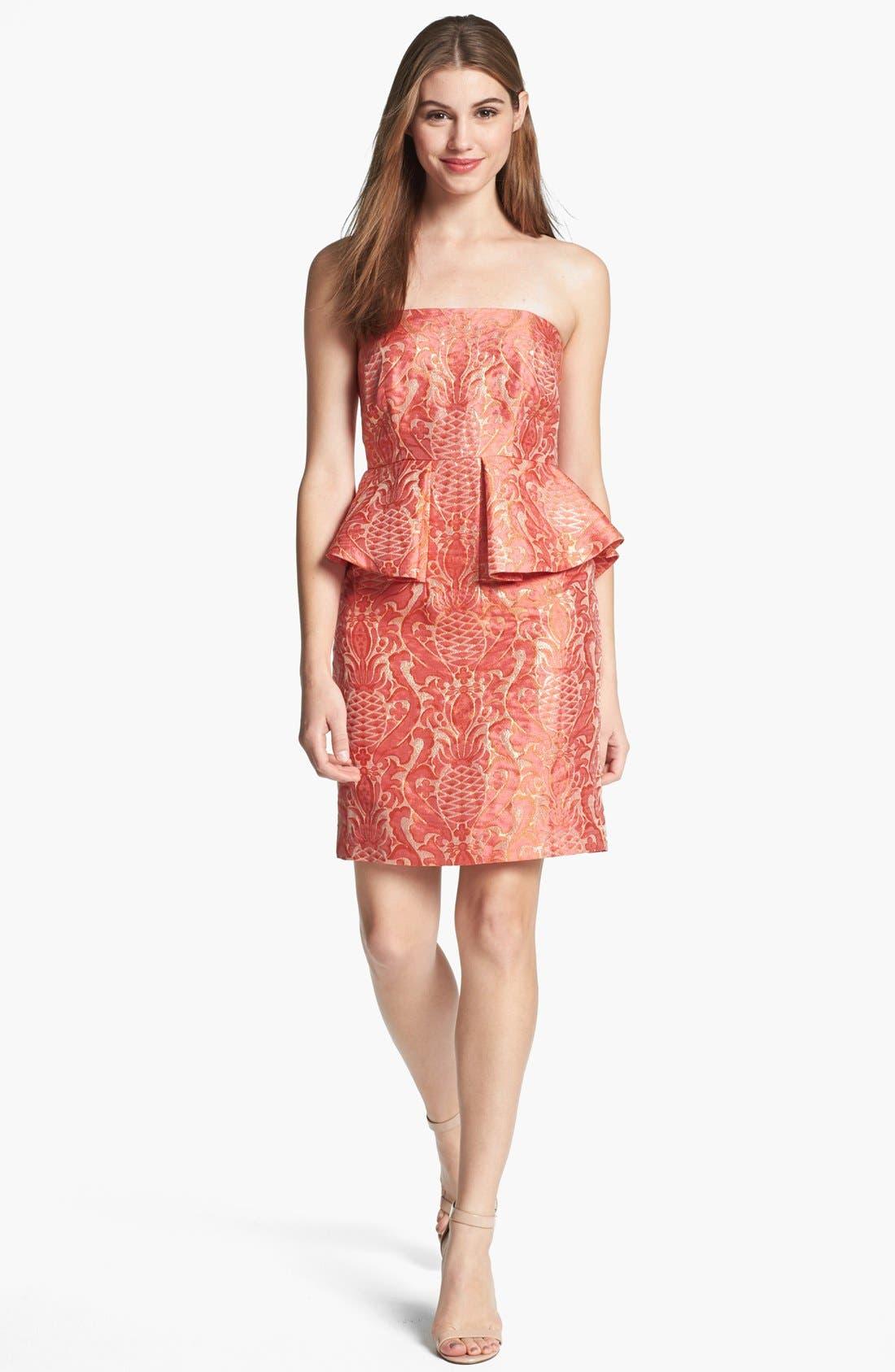 Alternate Image 1 Selected - Laundry by Shelli Segal Brocade Peplum Sheath Dress
