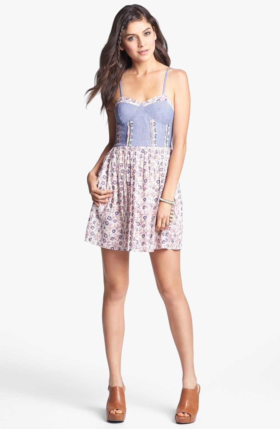 Alternate Image 1 Selected - Band of Gypsies Chambray Bustier Sundress (Juniors) (Online Only)