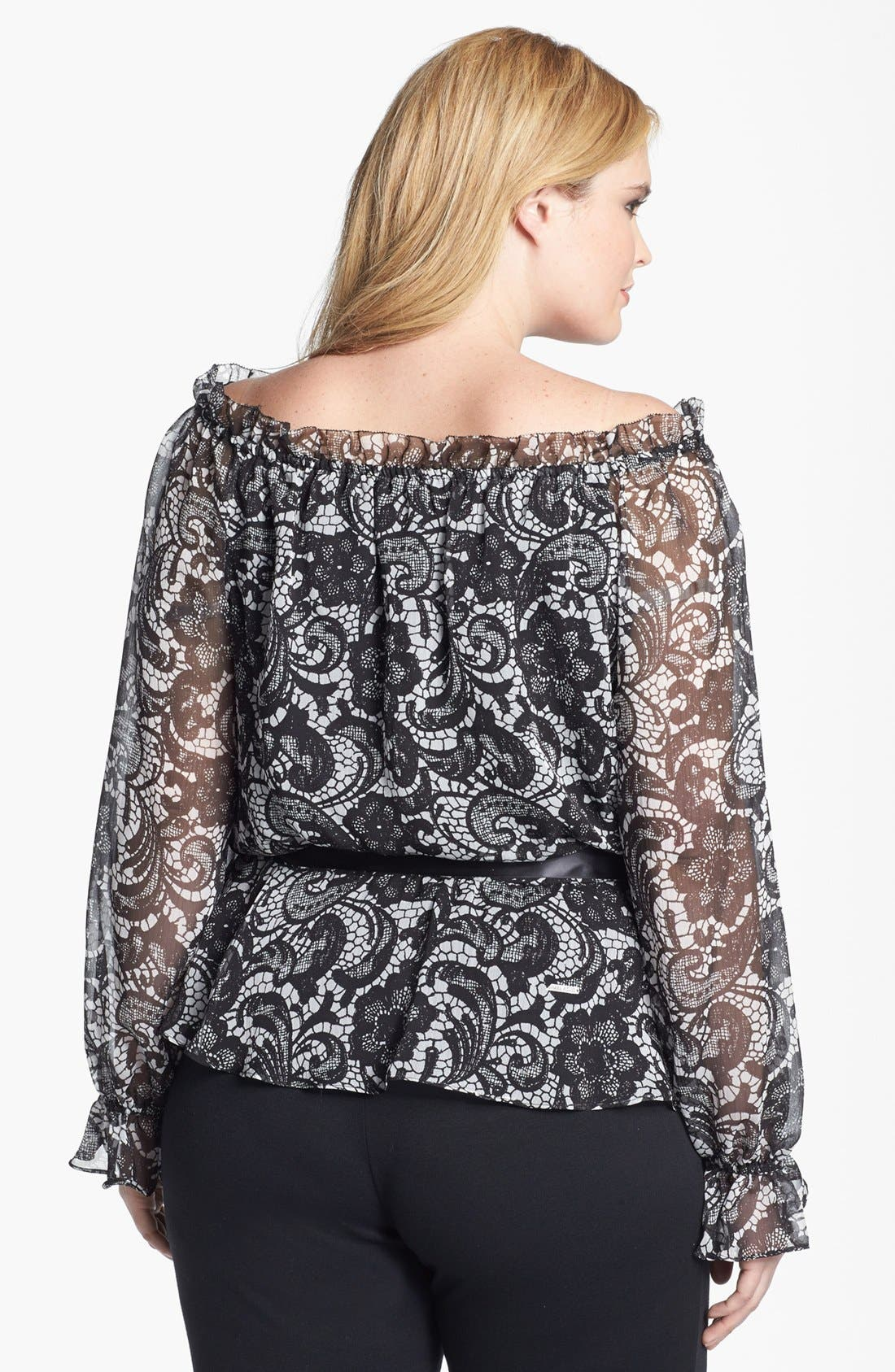 Alternate Image 2  - Adrianna Papell Lace Print Blouse (Plus Size)