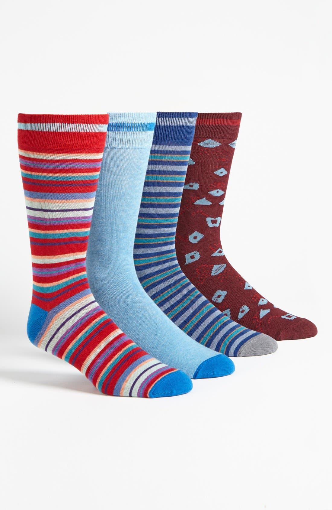 Main Image - Basic Sock 'Bottoms Out' Pattern Socks (4-Pack)